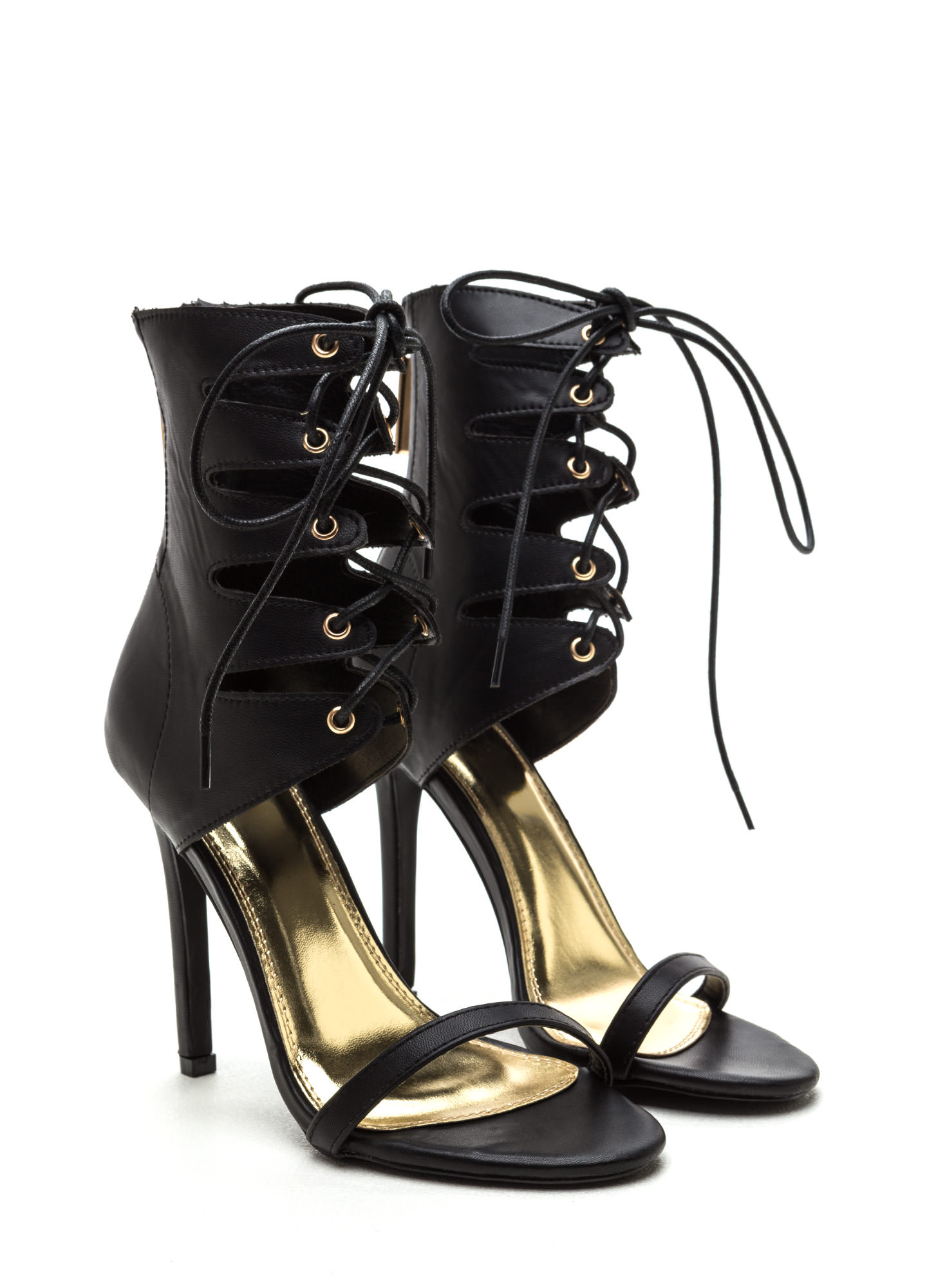 Lace Up Leather Heels