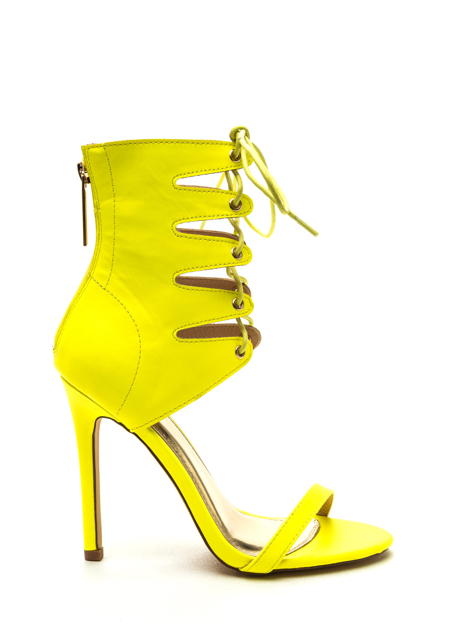 neon yellow high heels is heel