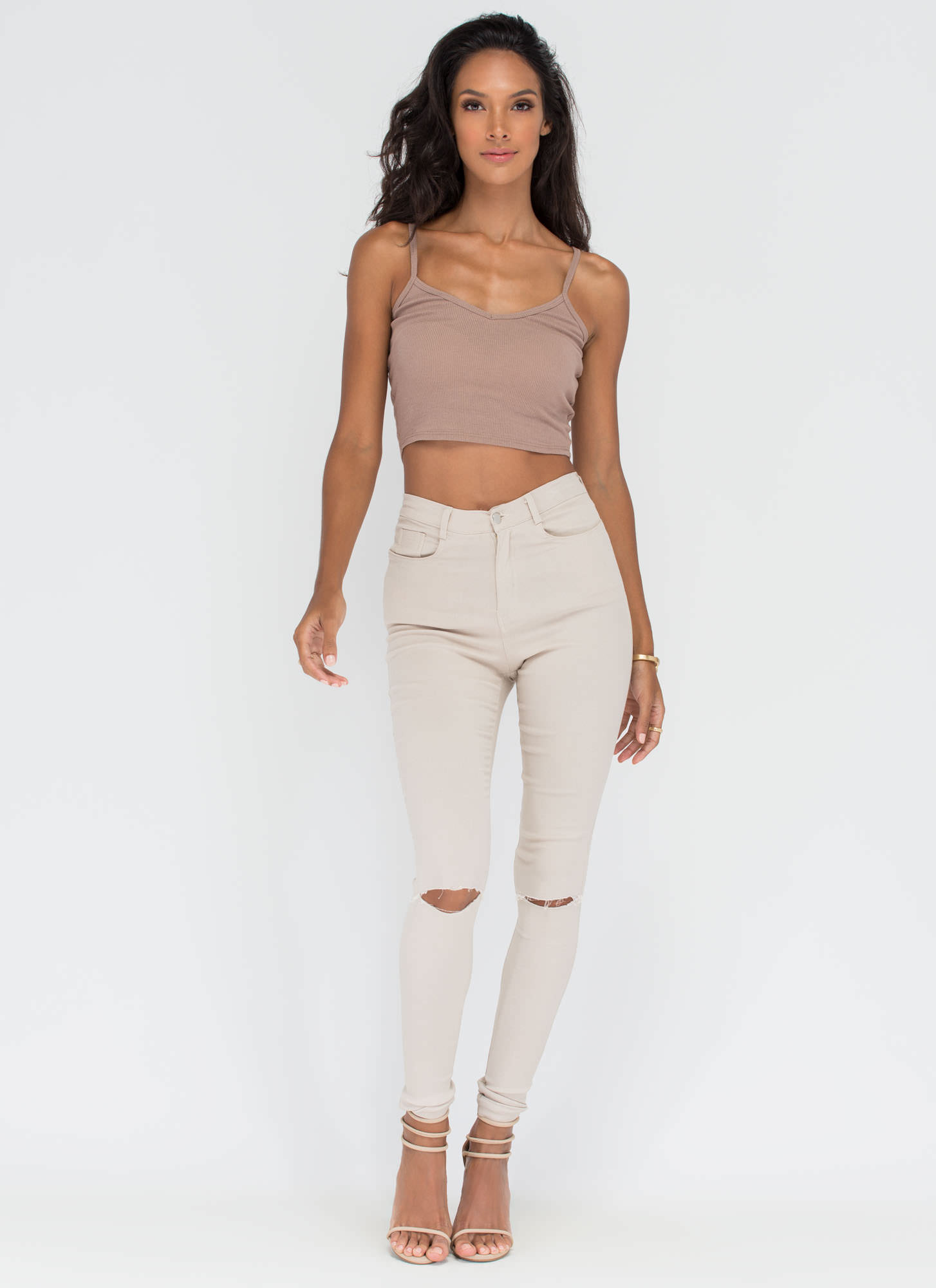 Safety Knit Cropped Tank MOCHA