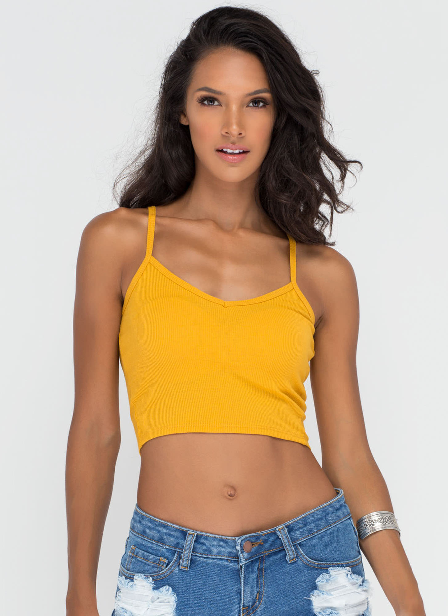 Safety Knit Cropped Tank MUSTARD