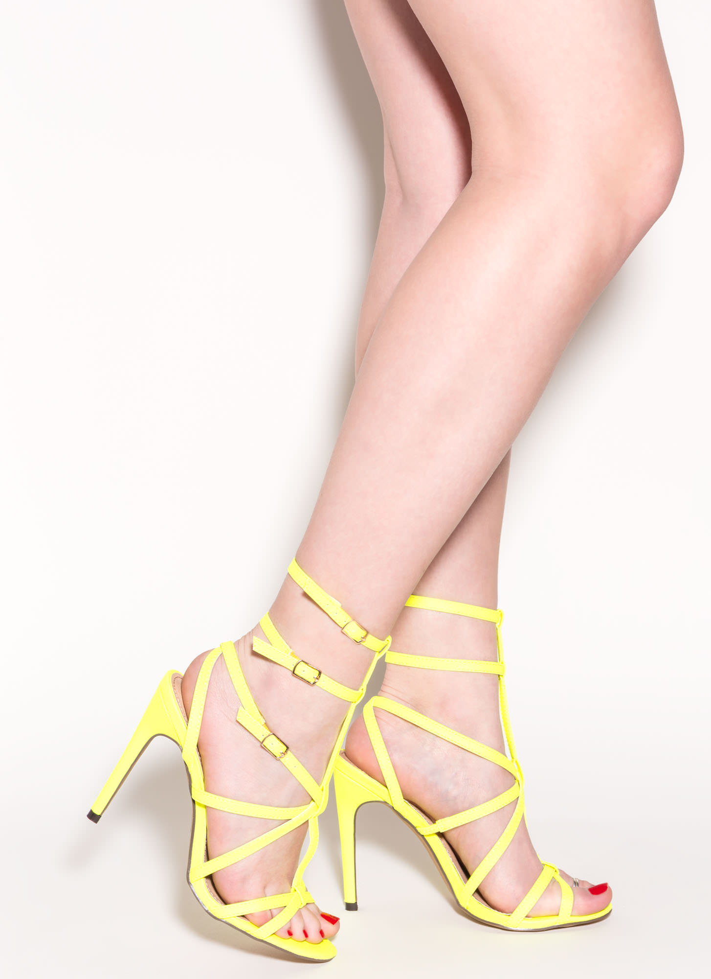 Neon Yellow High Heel Sandals Is Heel