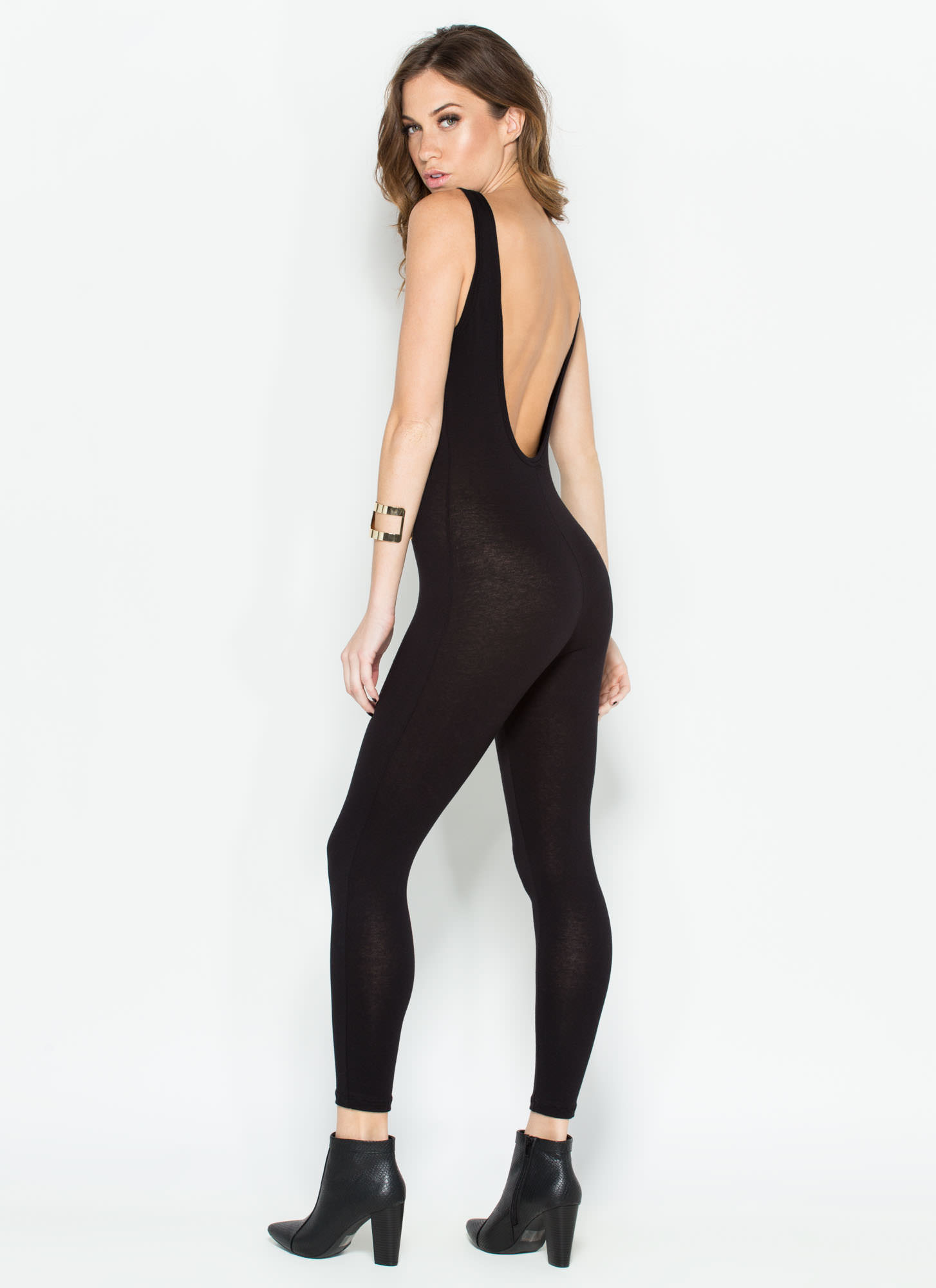 Double Scoop Sleeveless Full Bodysuit BLACK