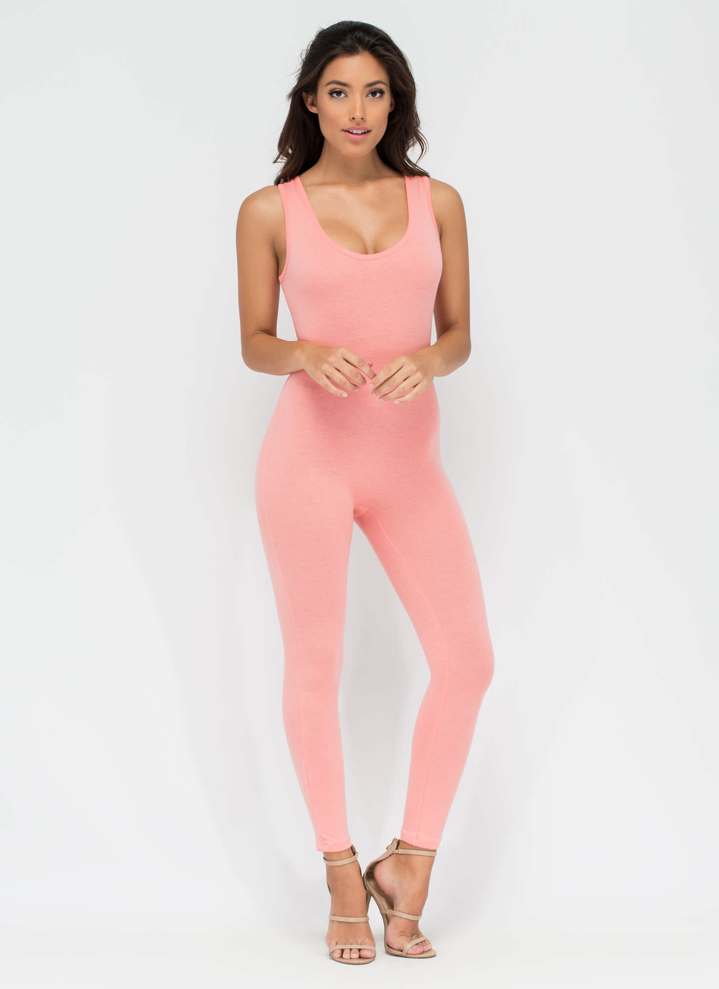 Double Scoop Sleeveless Full Bodysuit CORAL