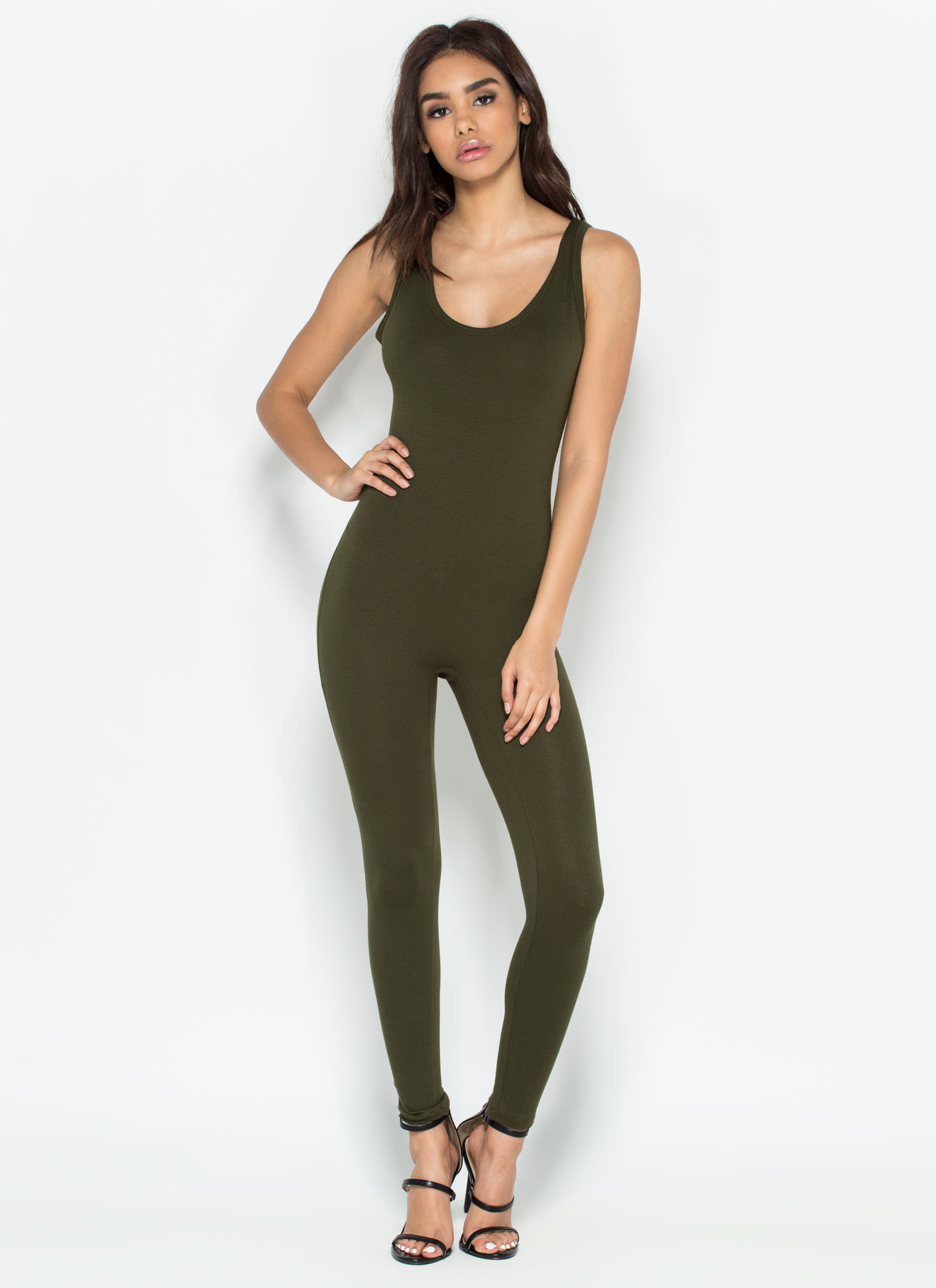 Double Scoop Sleeveless Full Bodysuit OLIVE