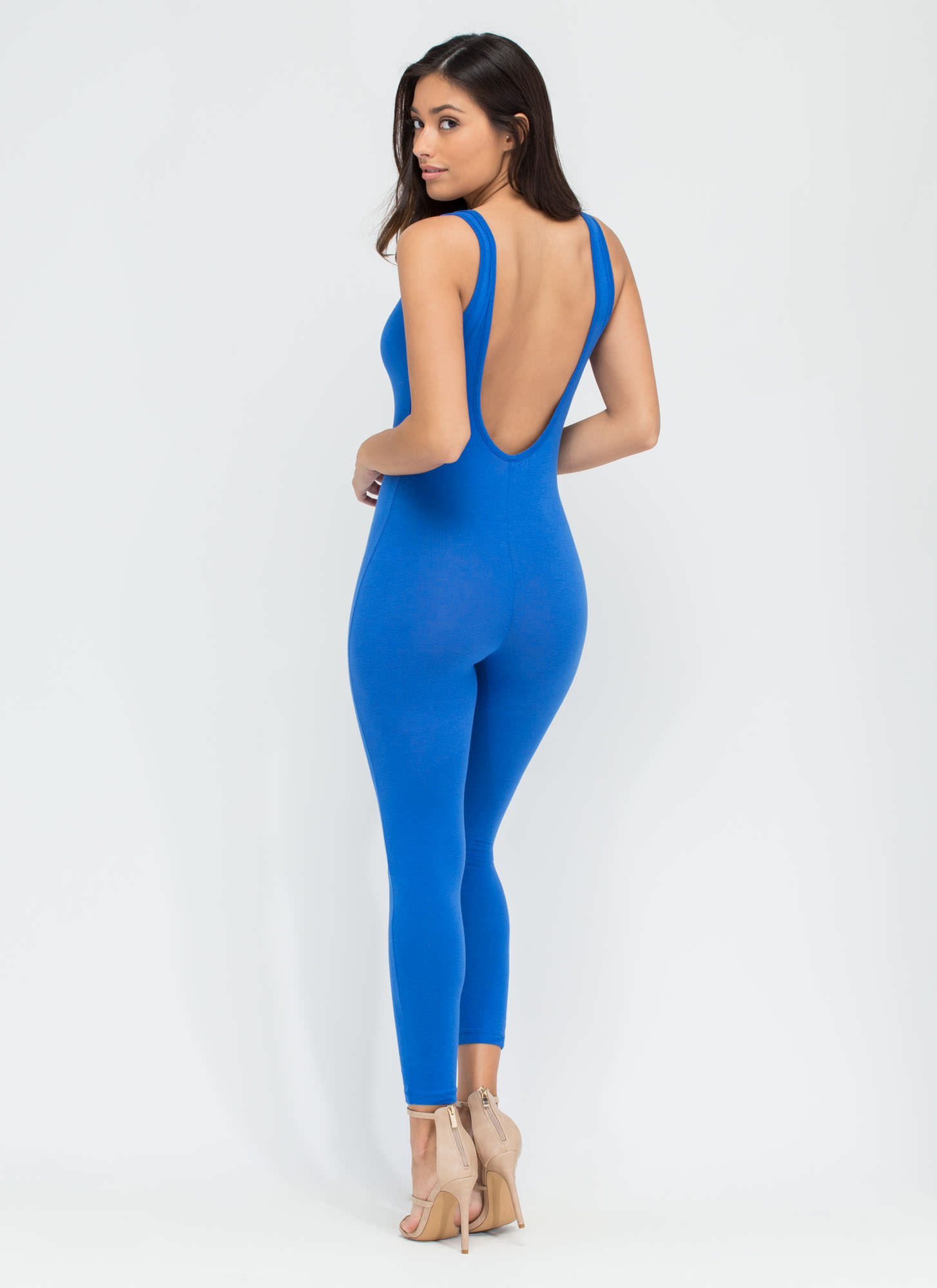 Double Scoop Sleeveless Full Bodysuit ROYAL