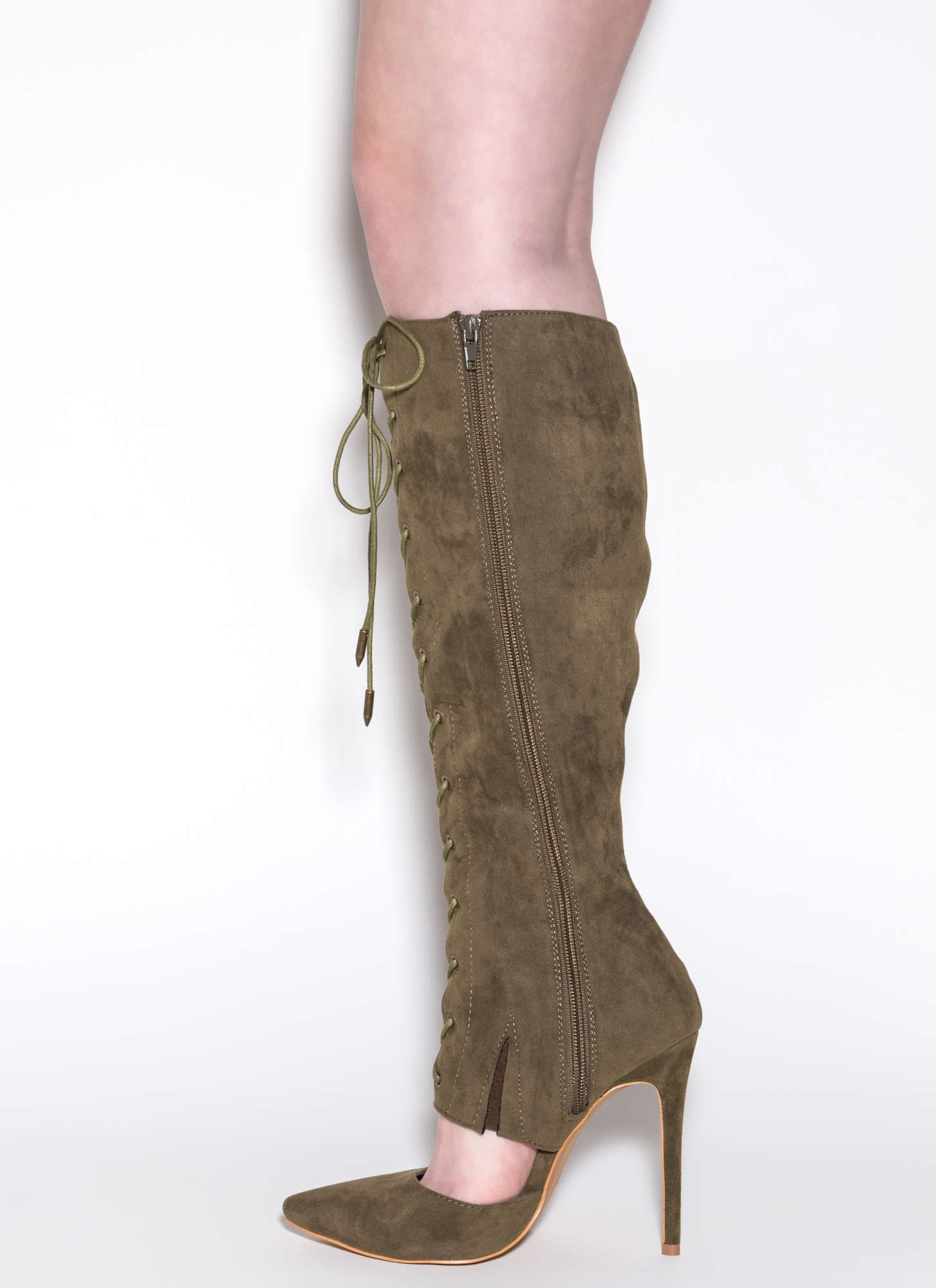 Major Influence Lace-Up Boots OLIVE