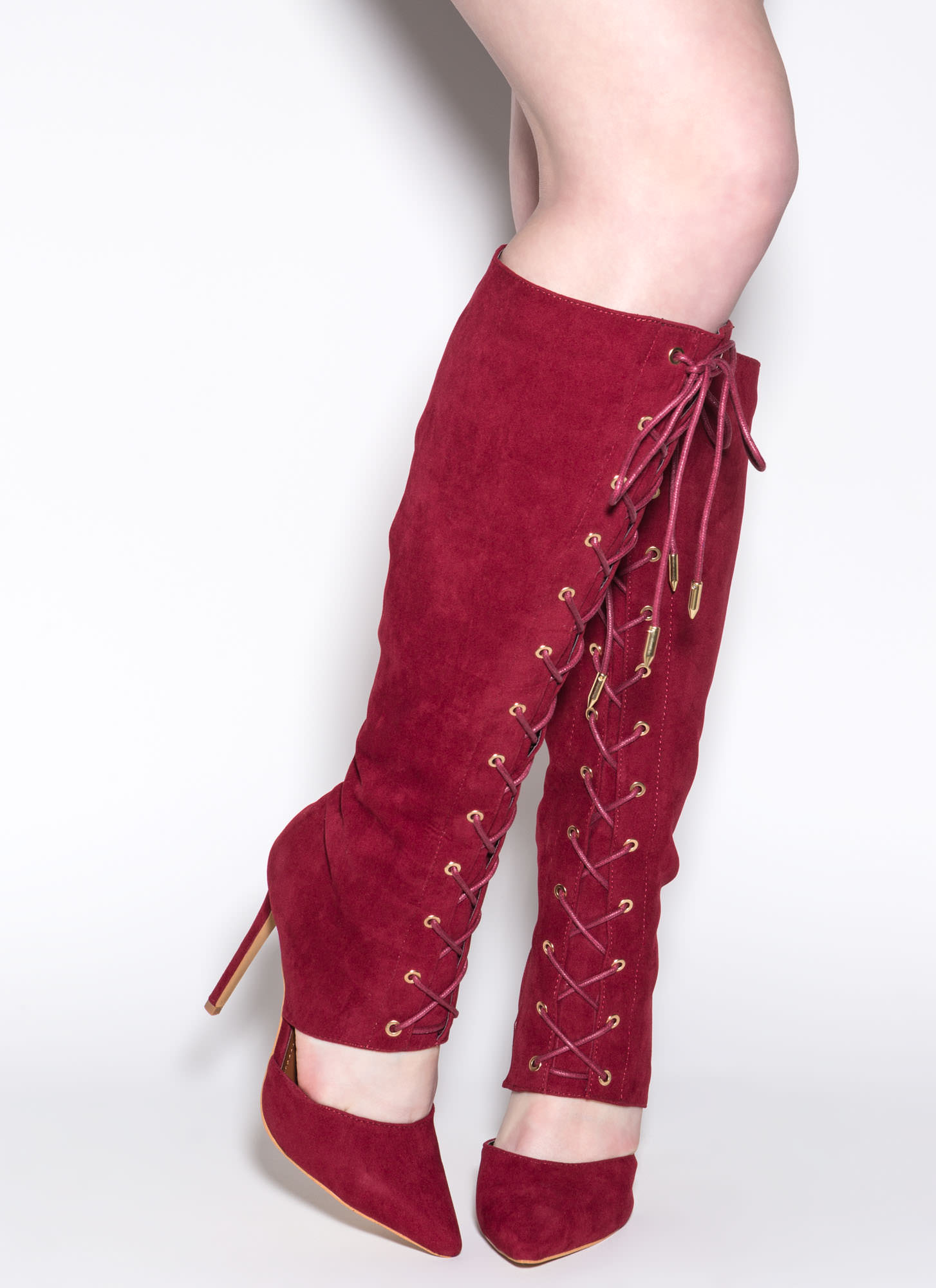 Major Influence Lace-Up Boots WINE