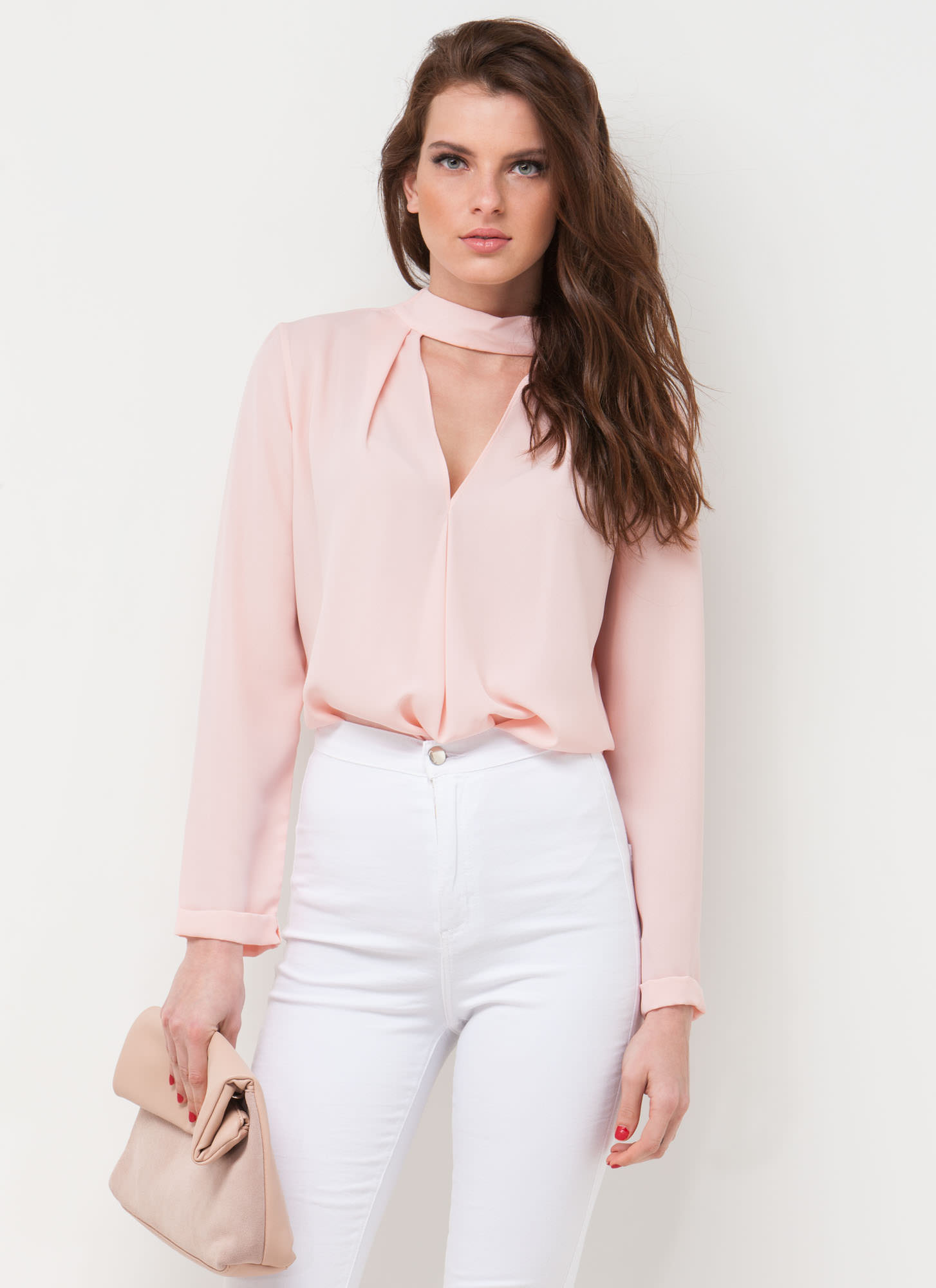 Clean Cut-Out Blouse  BLUSH