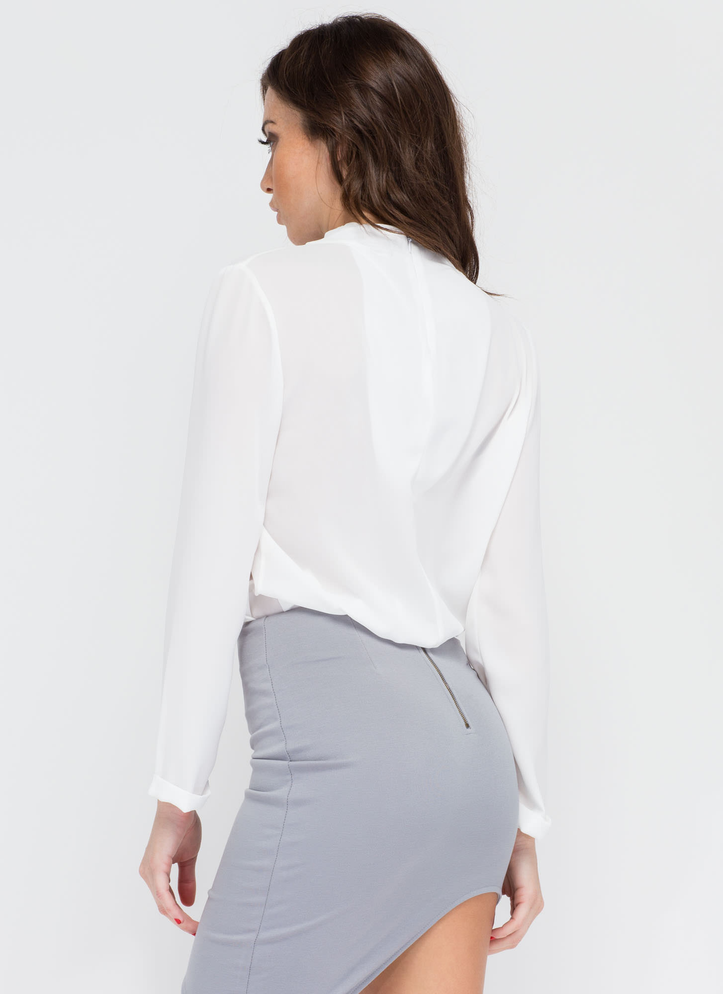 Clean Cut-Out Blouse  IVORY