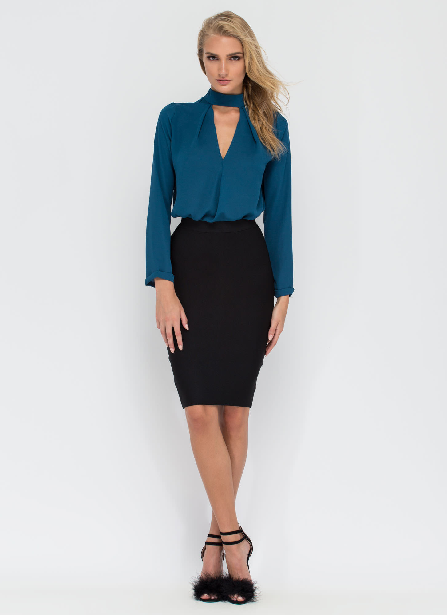 Clean Cut-Out Blouse  TEAL