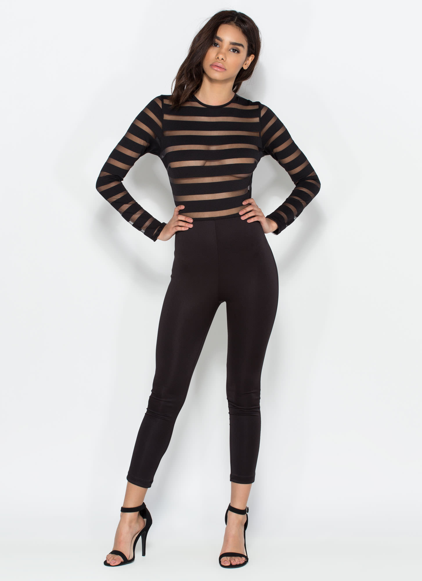 Stripe Together Sheer Jumpsuit BLACK