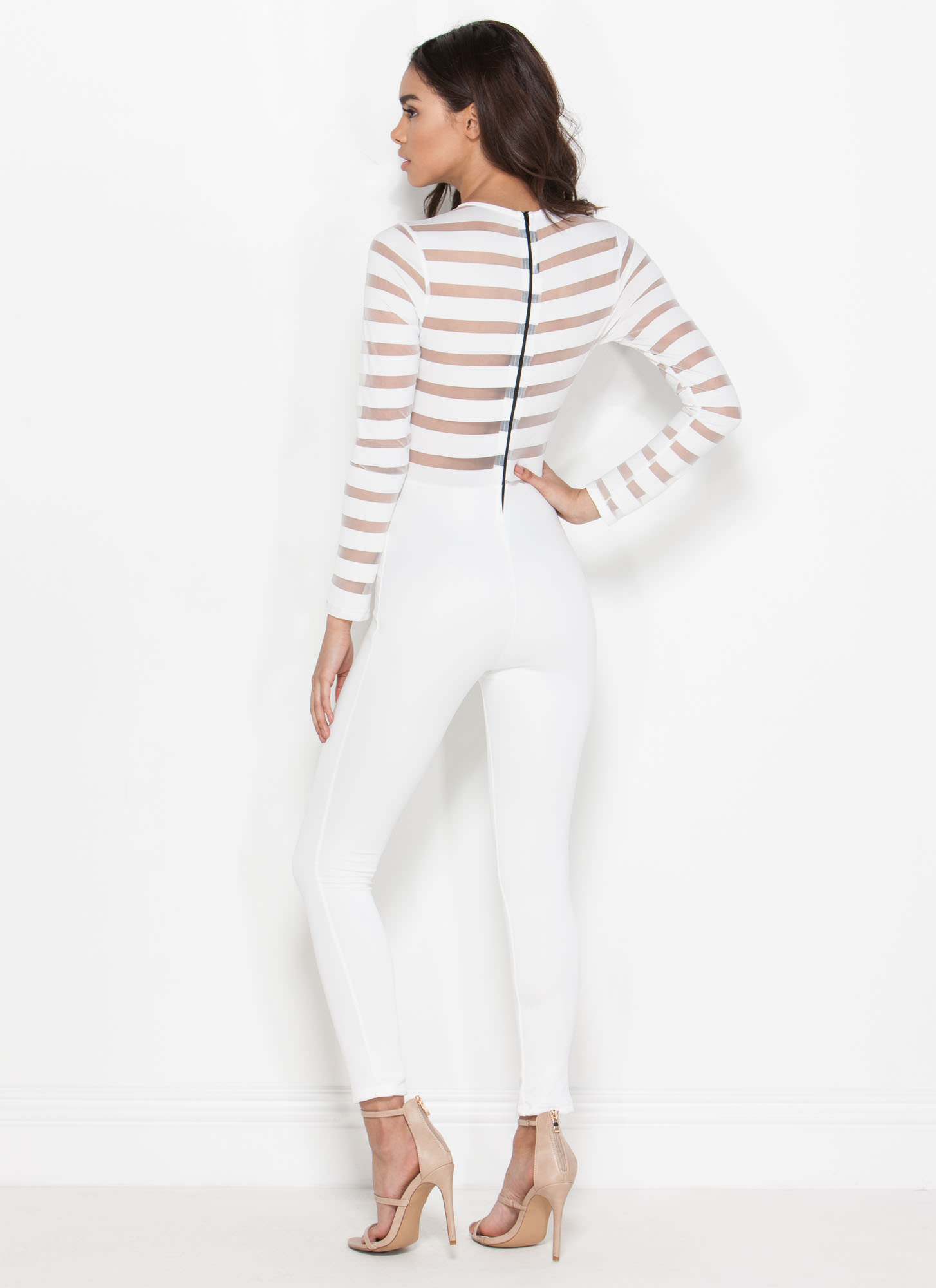 Stripe Together Sheer Jumpsuit WHITE