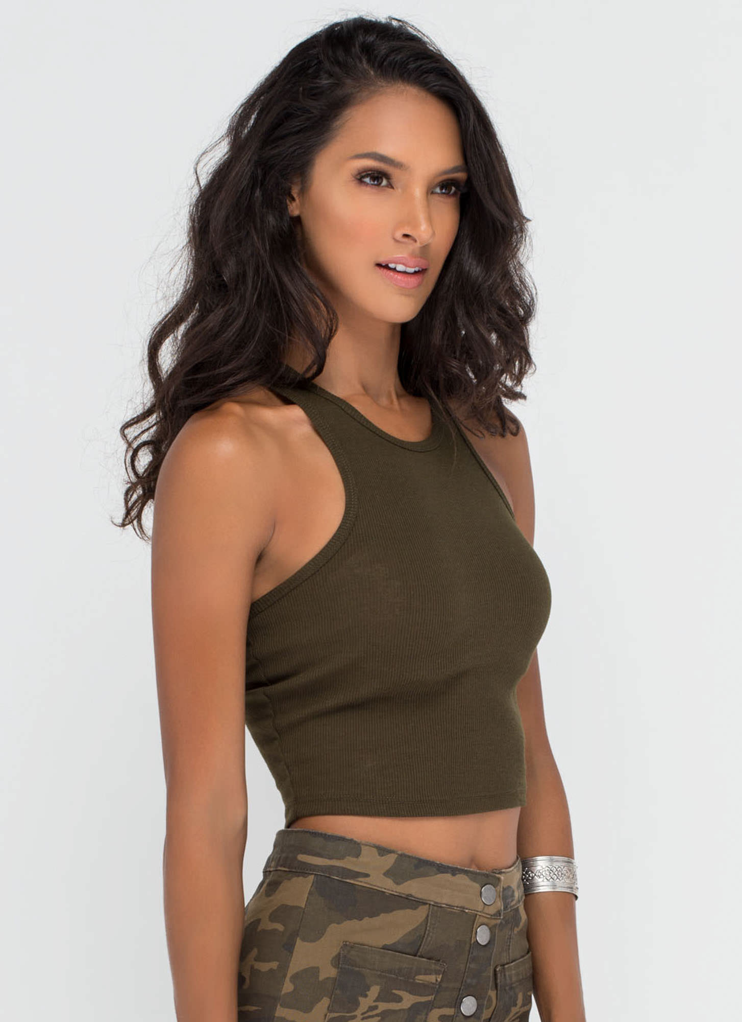 Knit It 'N Quit It Crop Top OLIVE