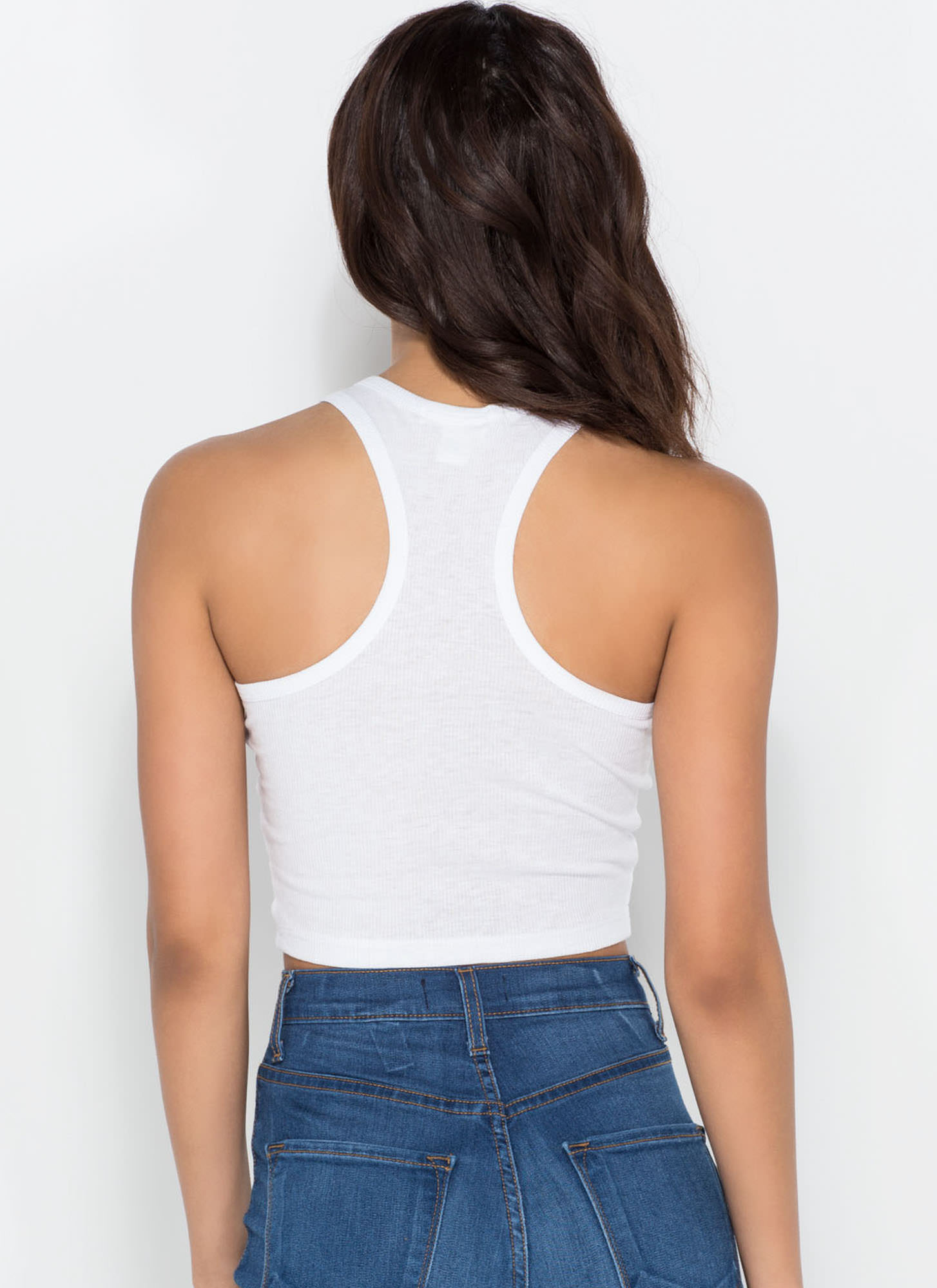 Knit It 'N Quit It Crop Top WHITE