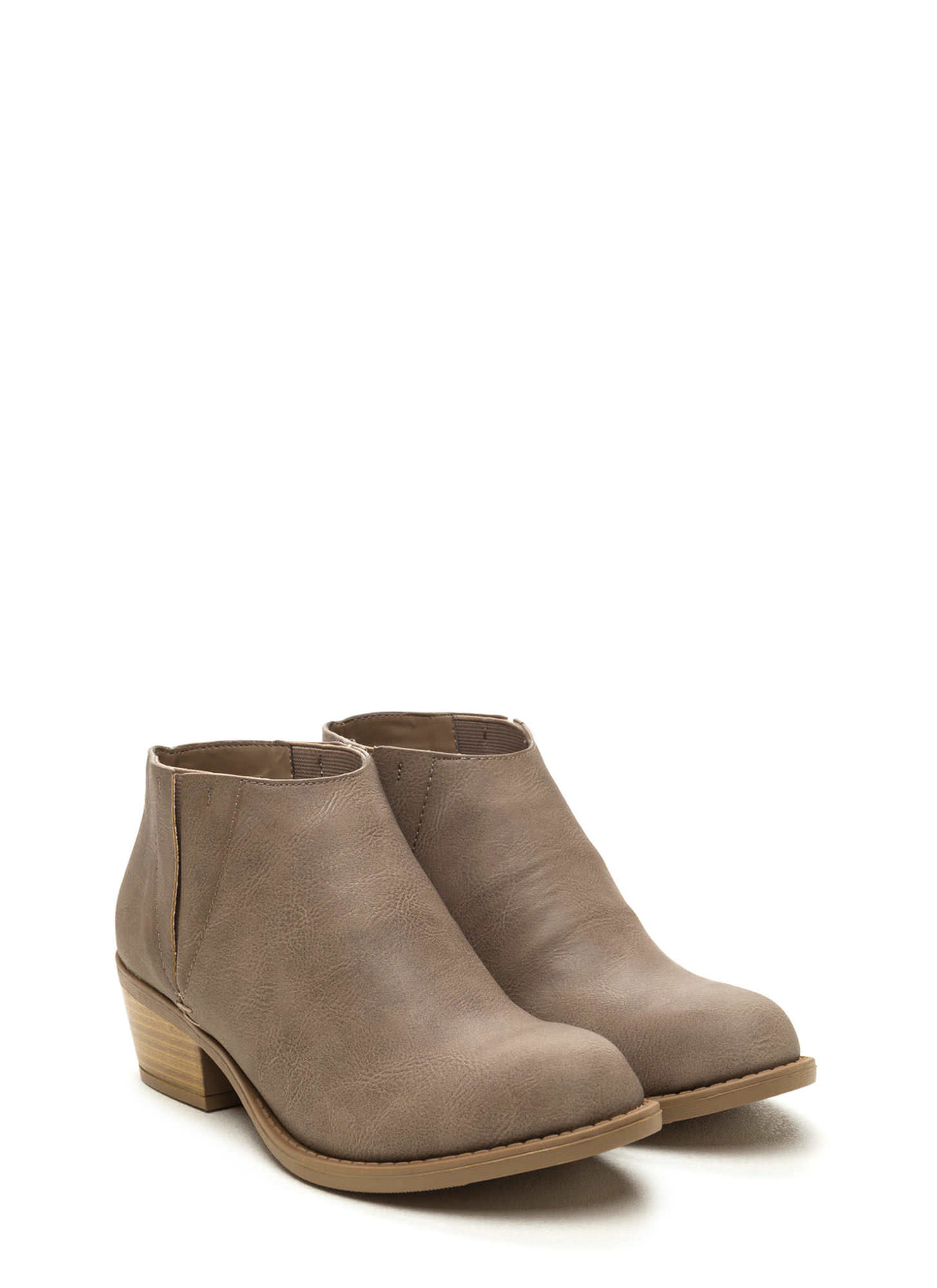 Street Style Faux Leather Booties GREY