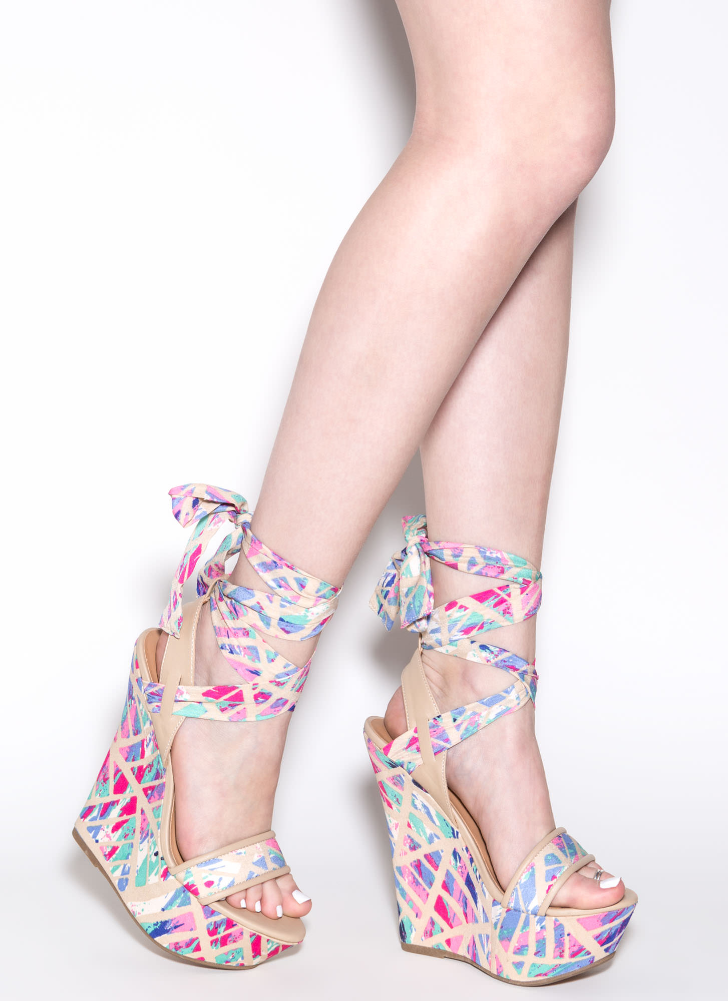 Up To Date Abstract Wedges NPINKMULTI