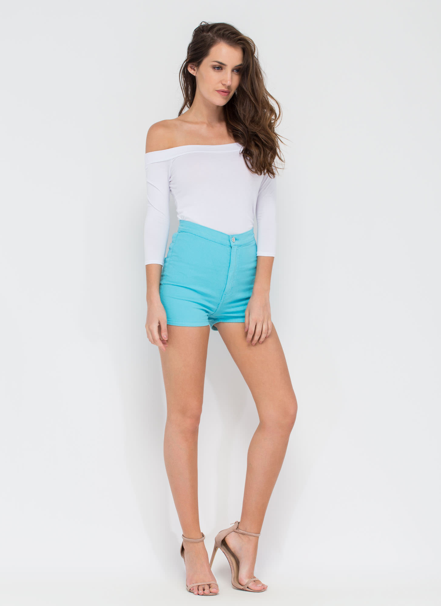 On A High-Waisted Shorts LTBLUE