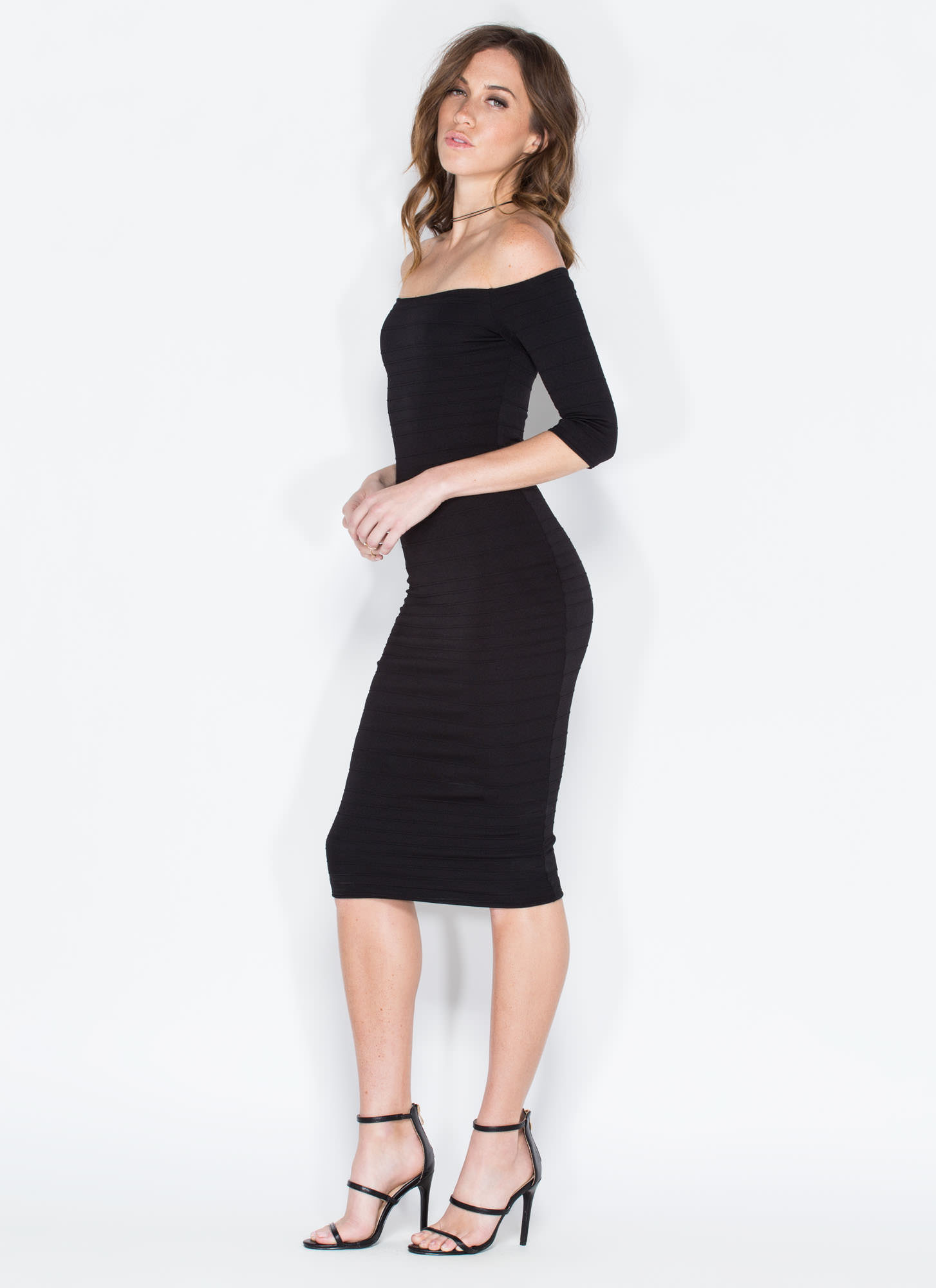 It's On Off-Shoulder Bandage Midi Dress BLACK