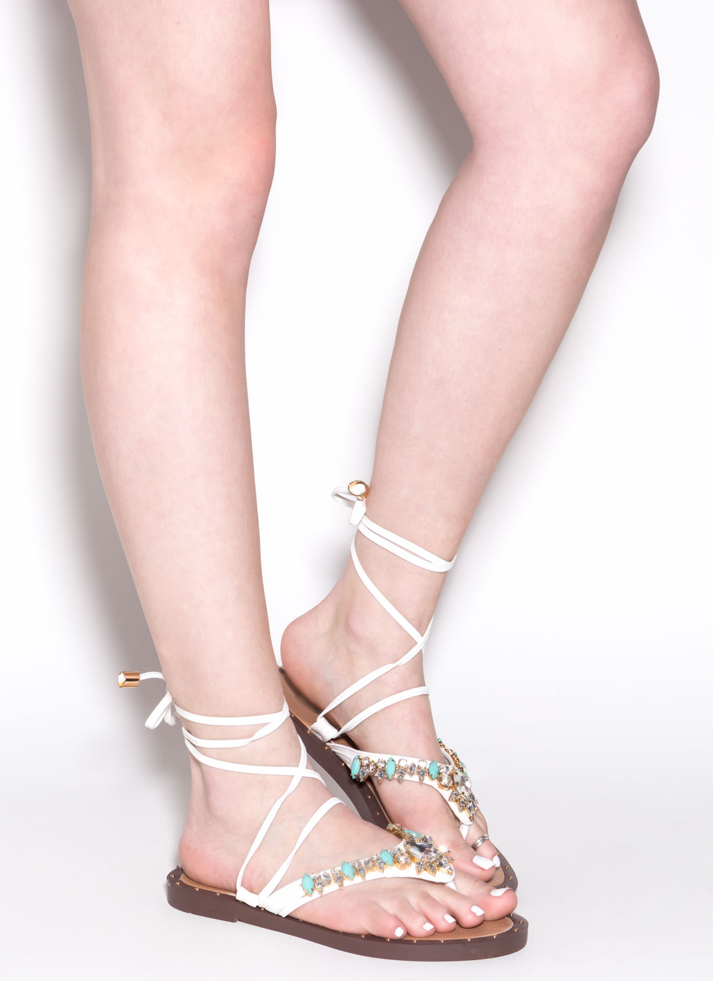 Gem-pire Faux Jewel Lace-Up Sandals WHITE