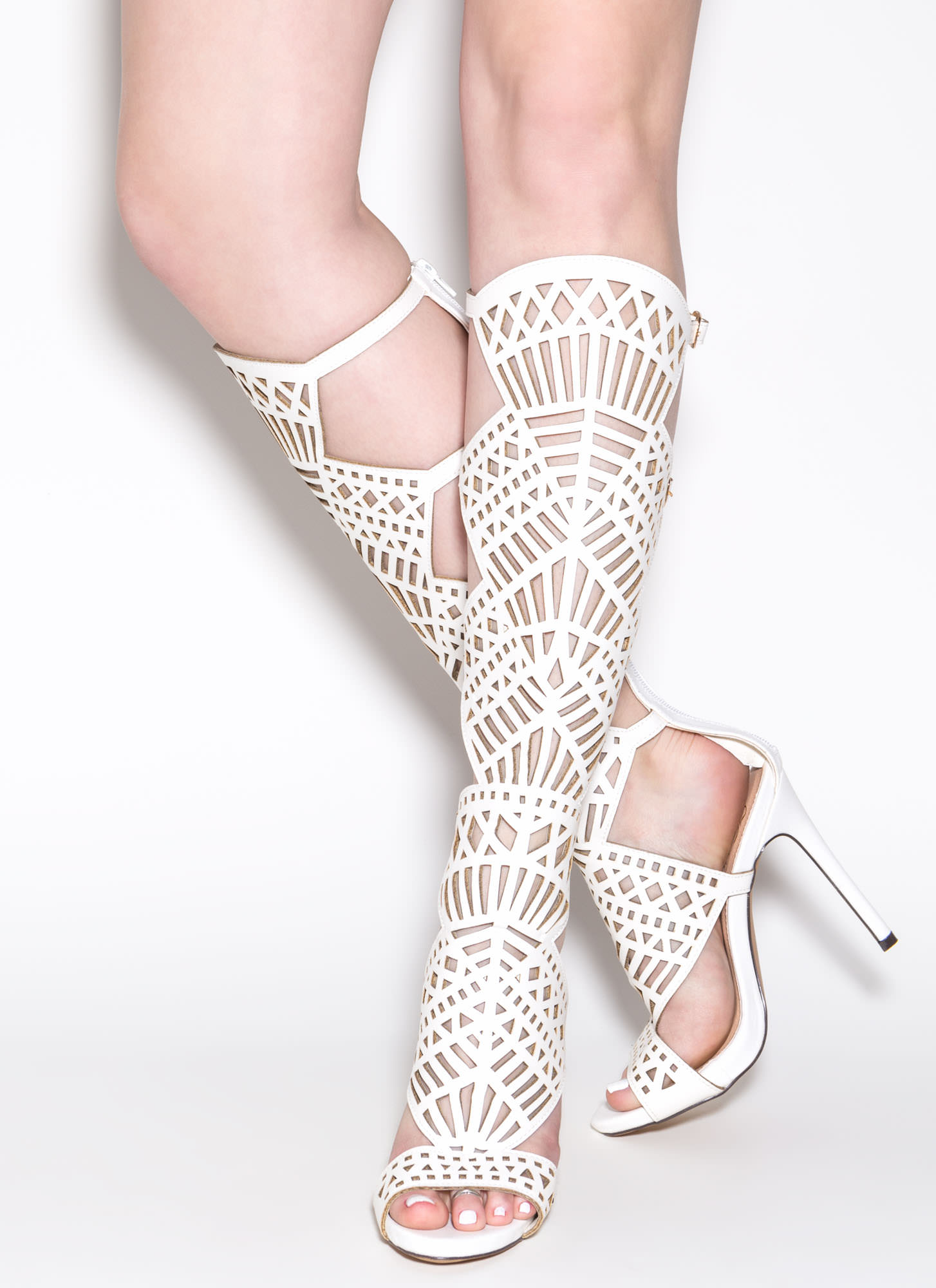 In The Works Gladiator Heels WHITE