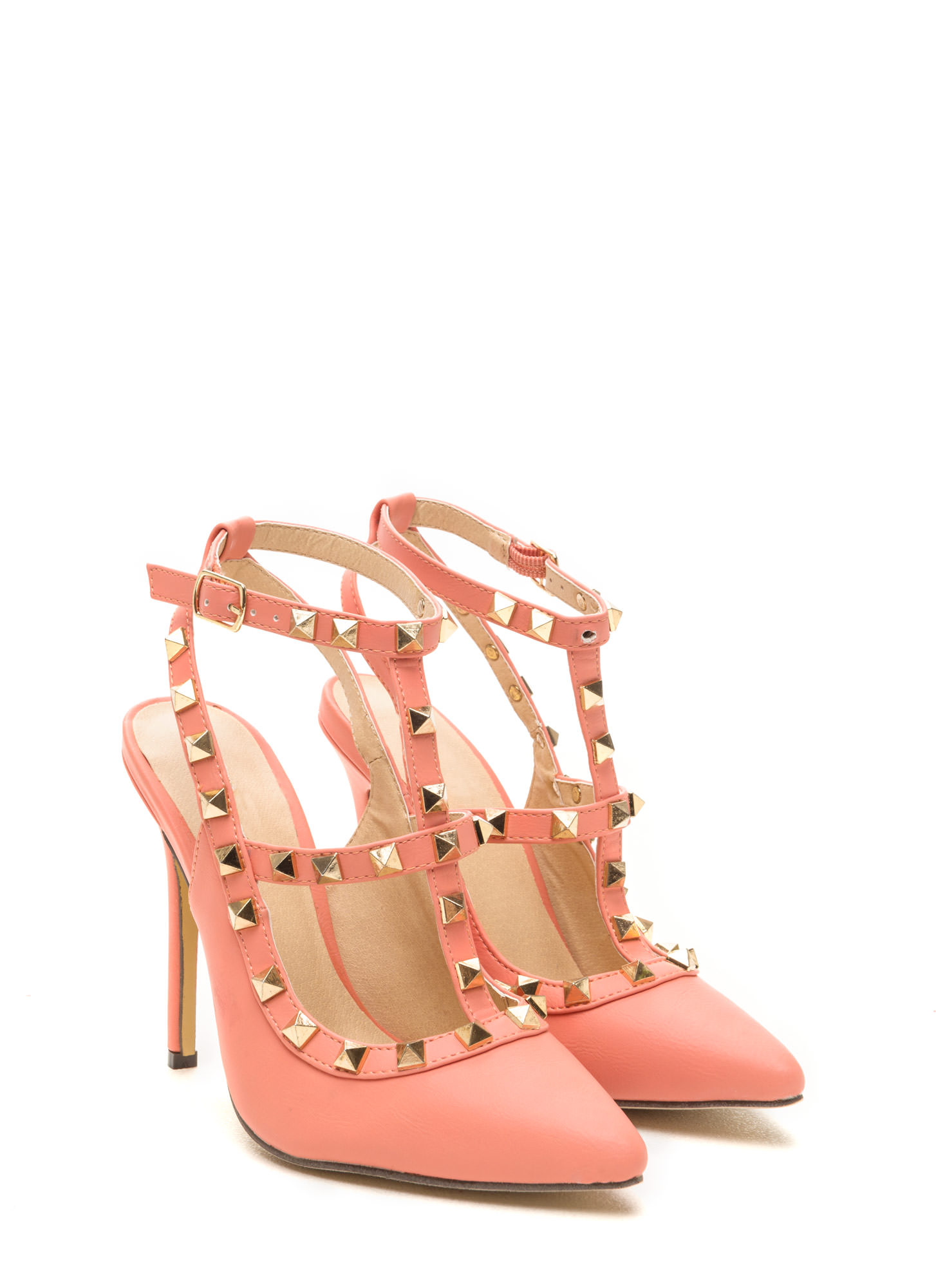 Stud-y Up Faux Leather Heels CORAL