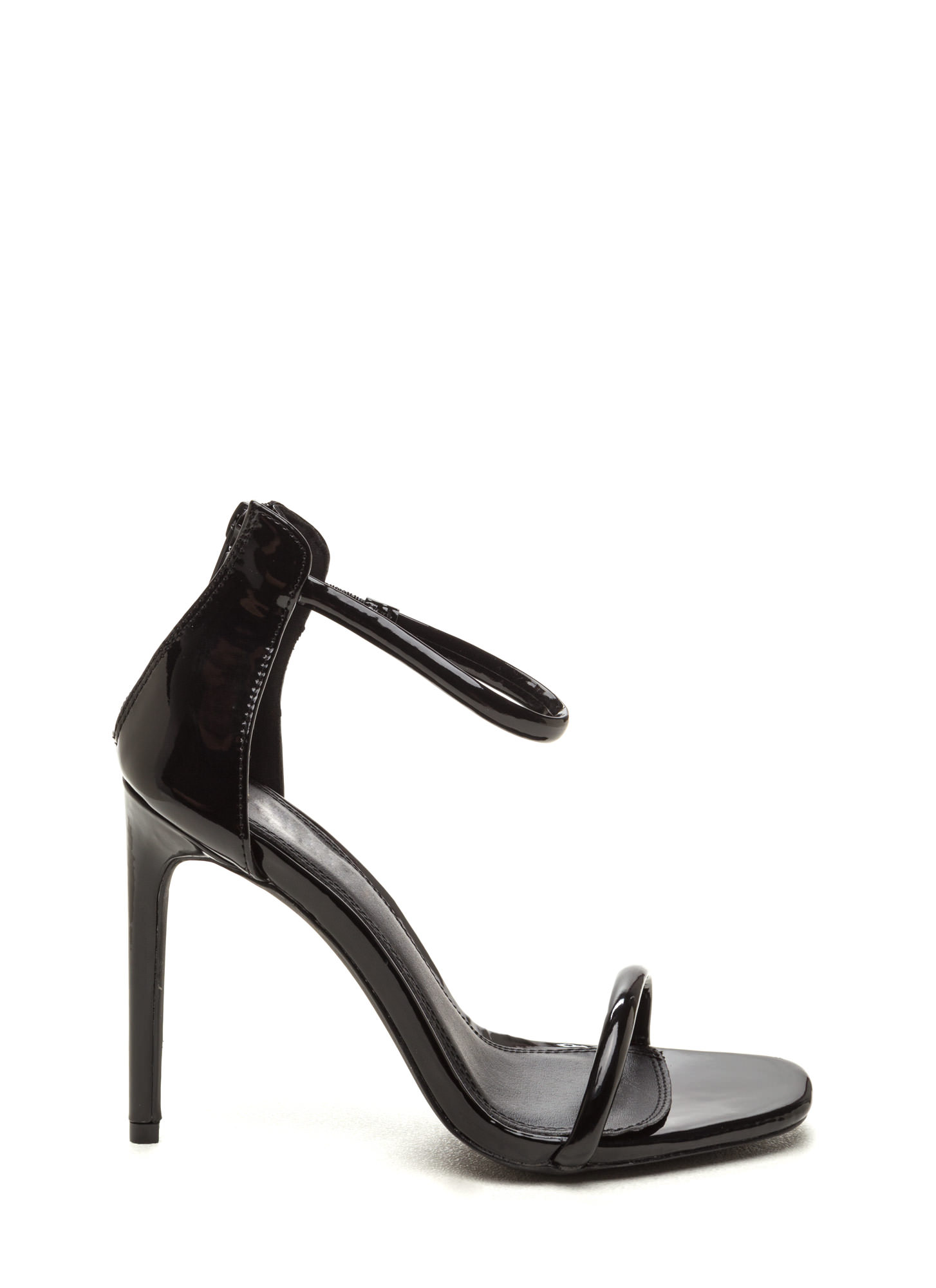 Black Patent Heels With Ankle Strap