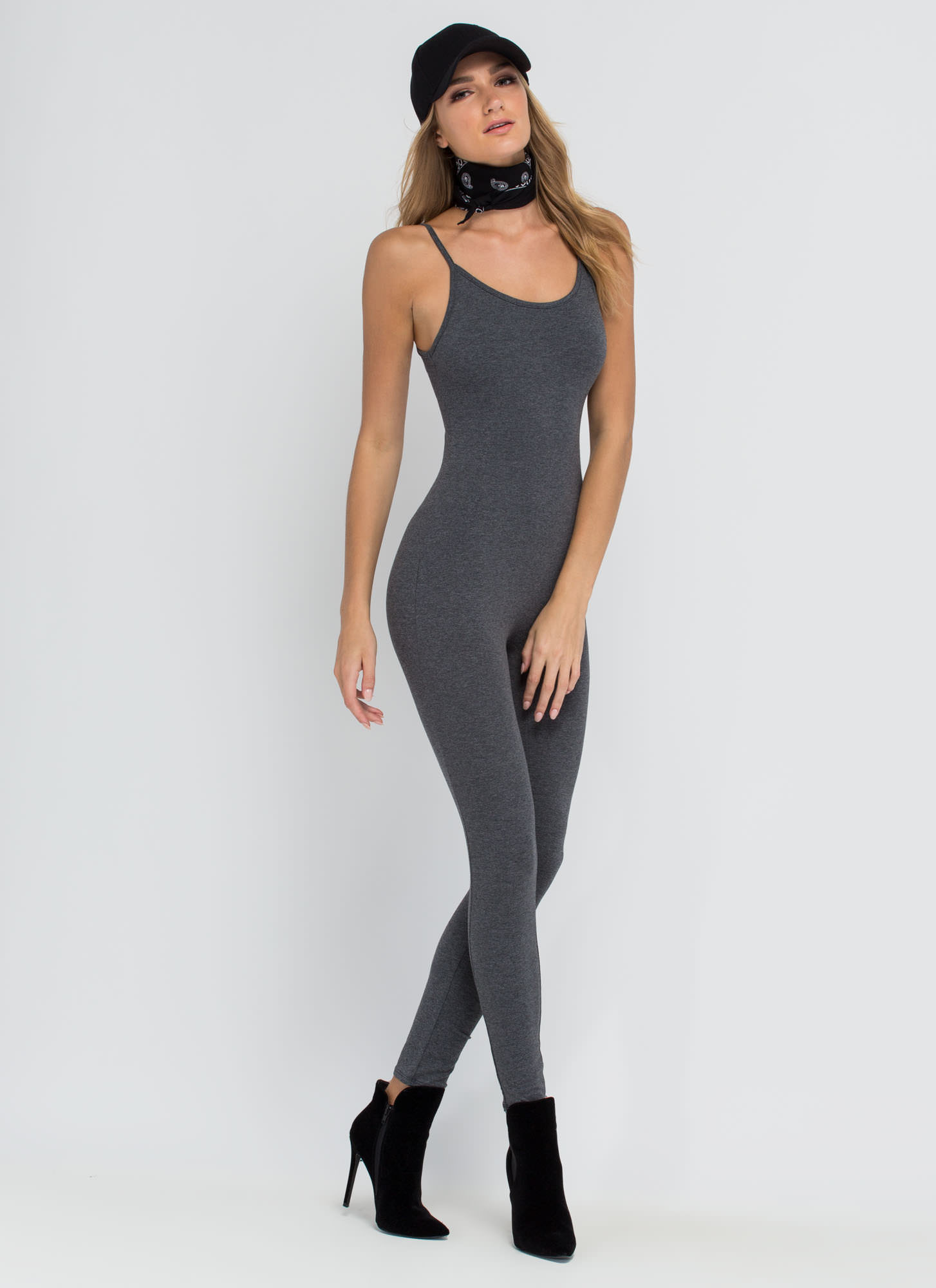 One For The Show Full Bodysuit CHARCOAL