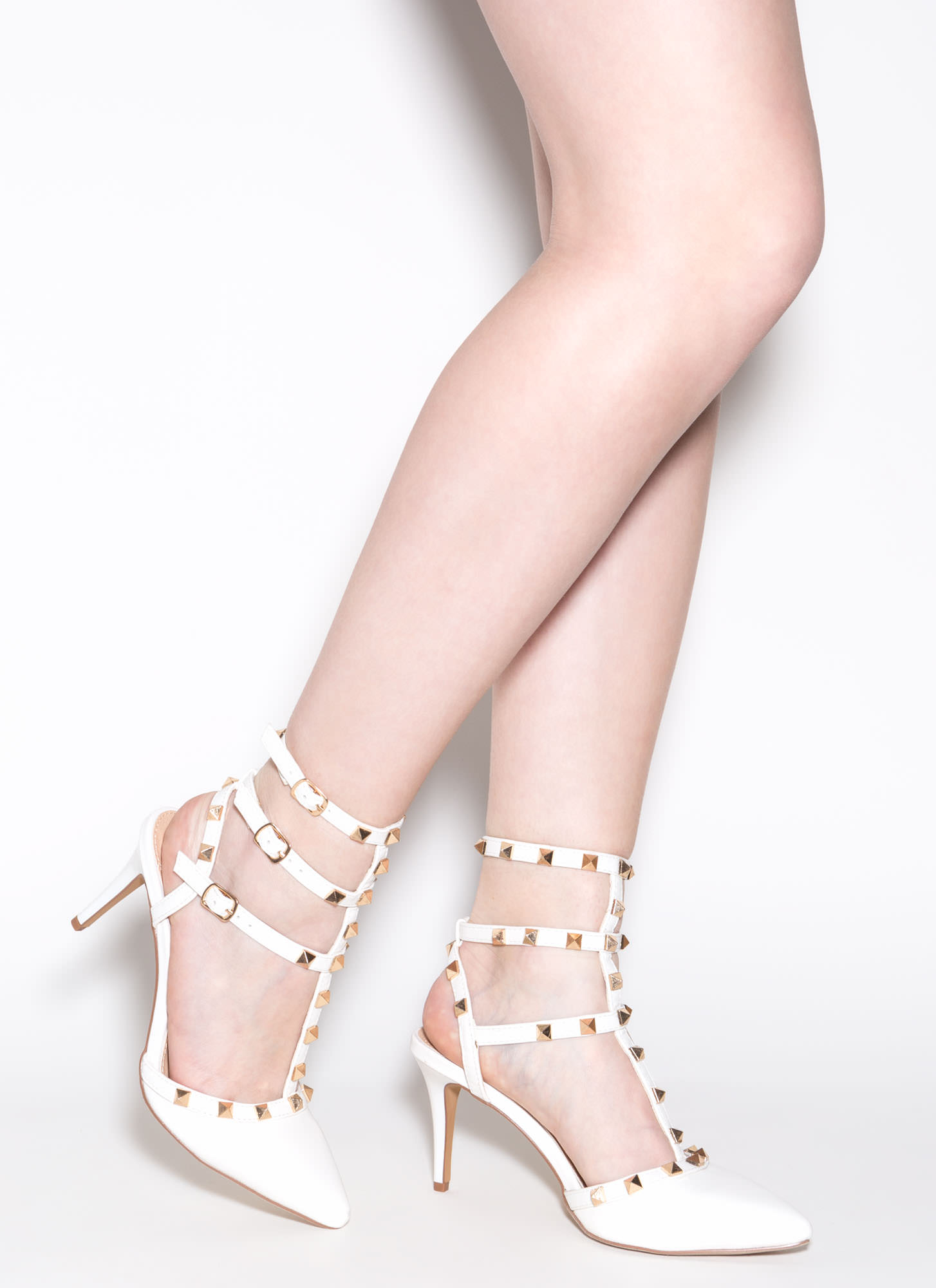 Strapped And Studded Pointy Heels Image