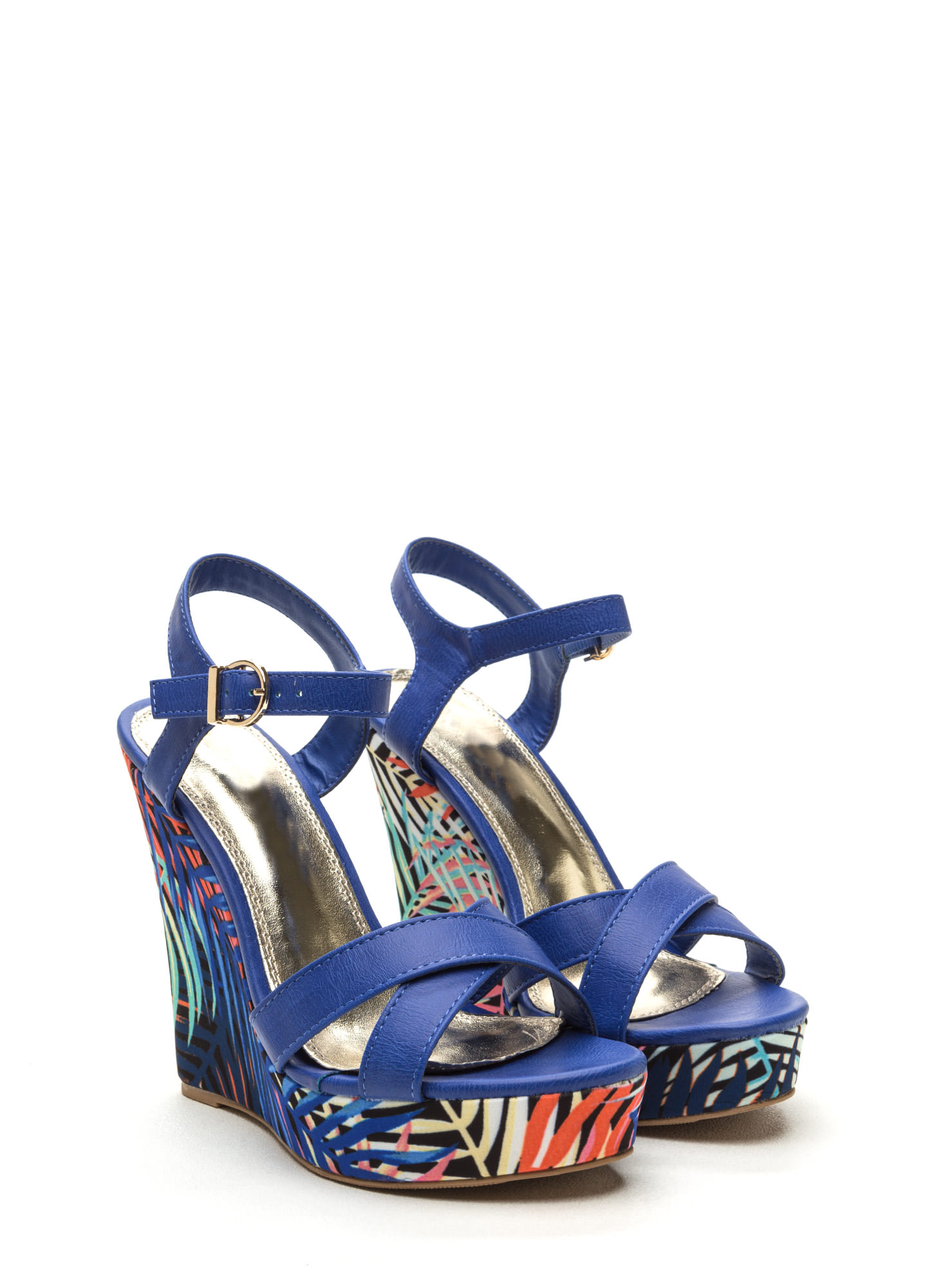 Tropical Mix Faux Leather Wedges BLUE