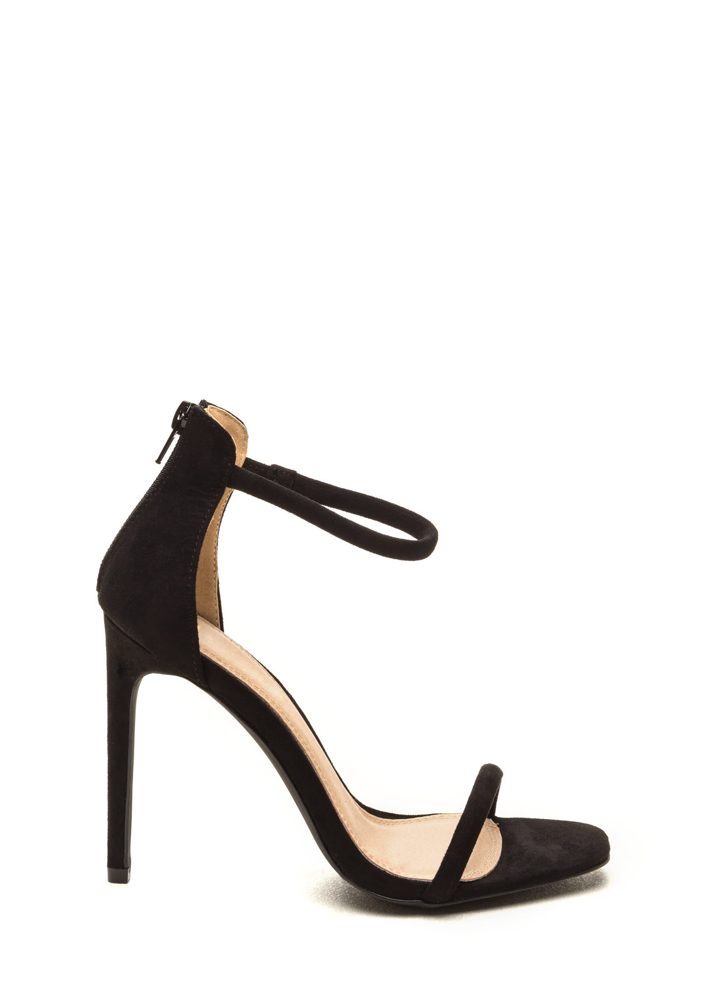 Just One Faux Suede Ankle Strap Heels BLACK
