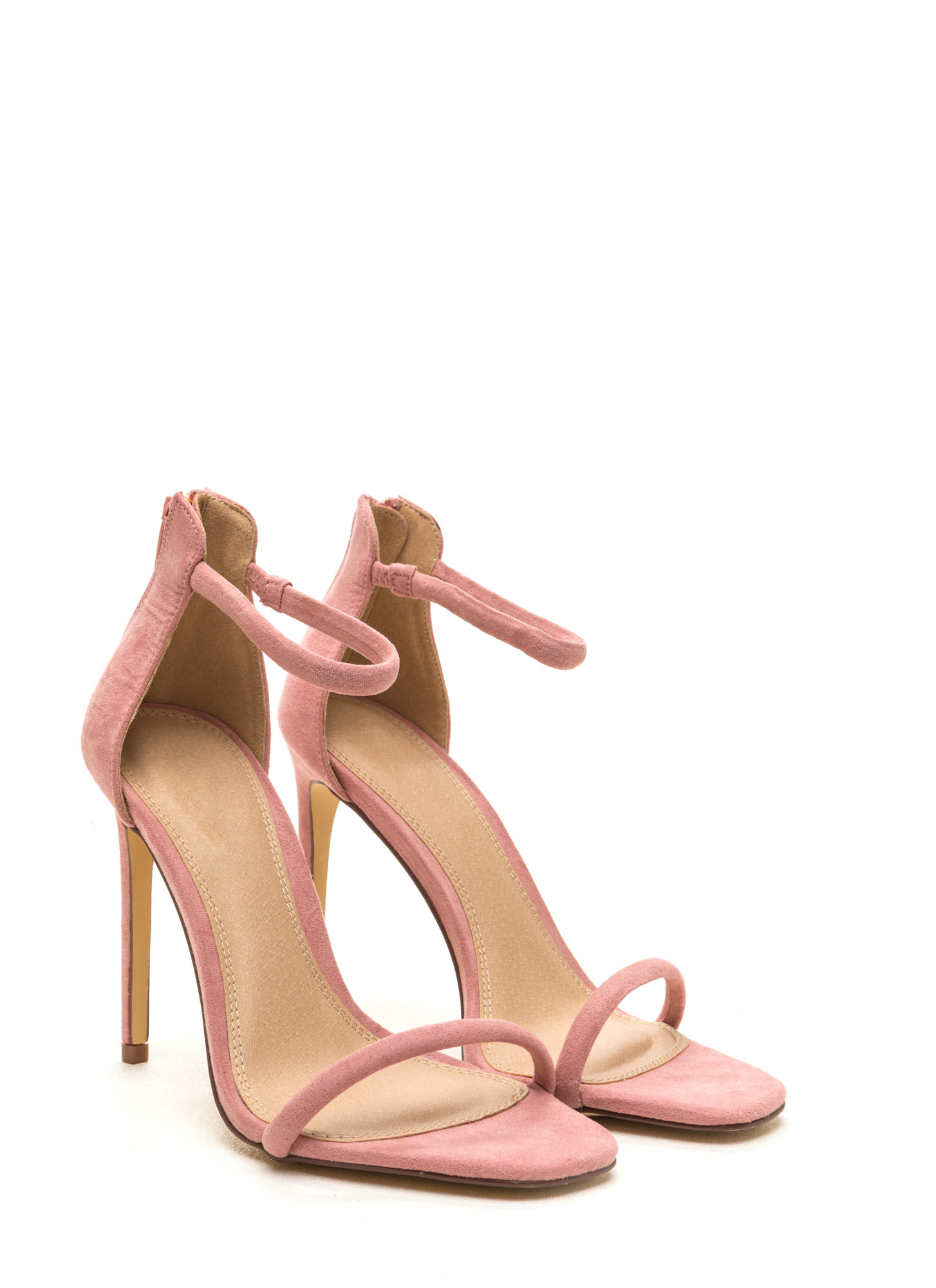 Just One Faux Suede Ankle Strap Heels DUSTYPINK