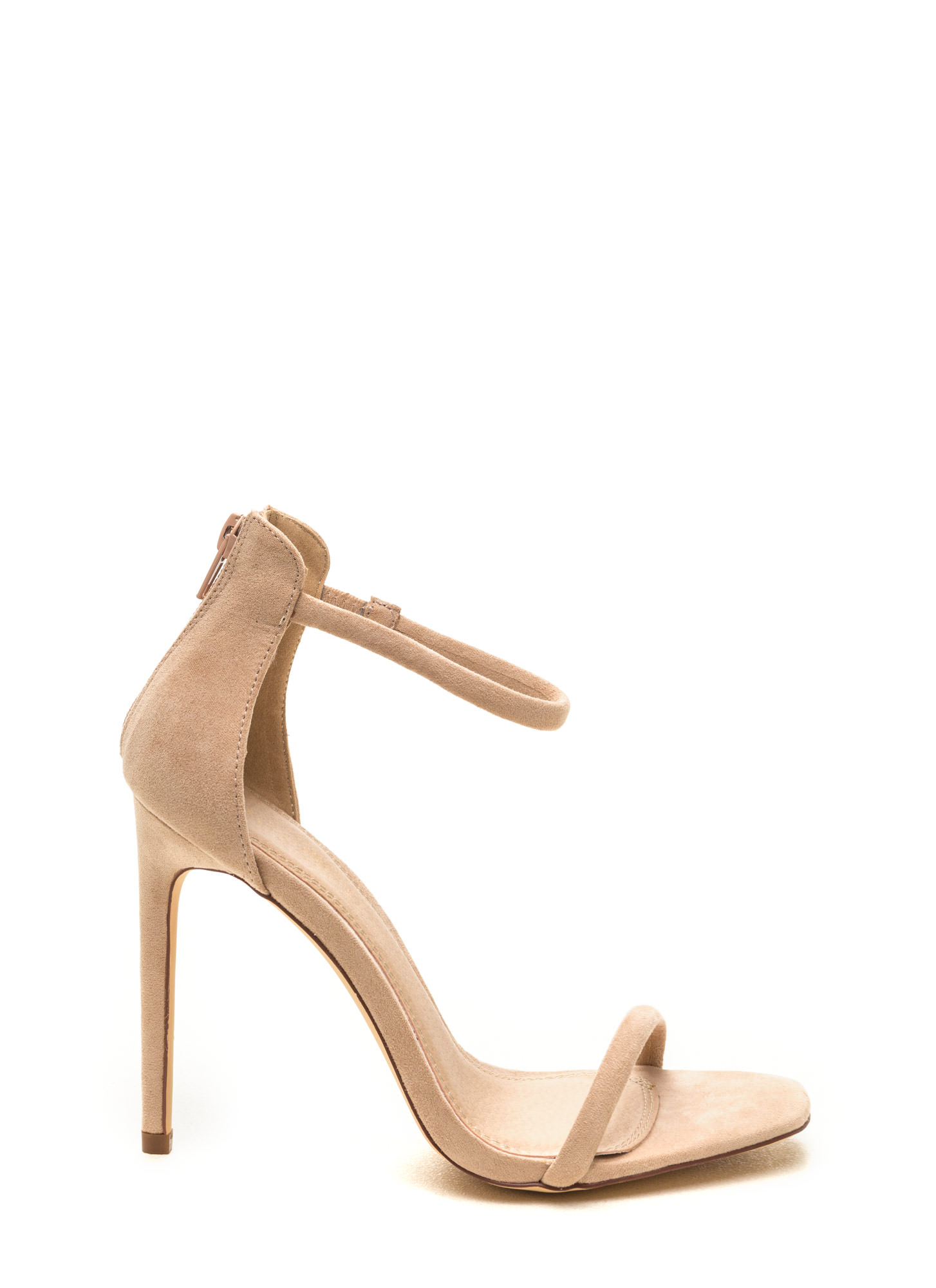 Just One Faux Suede Ankle Strap Heels NUDE