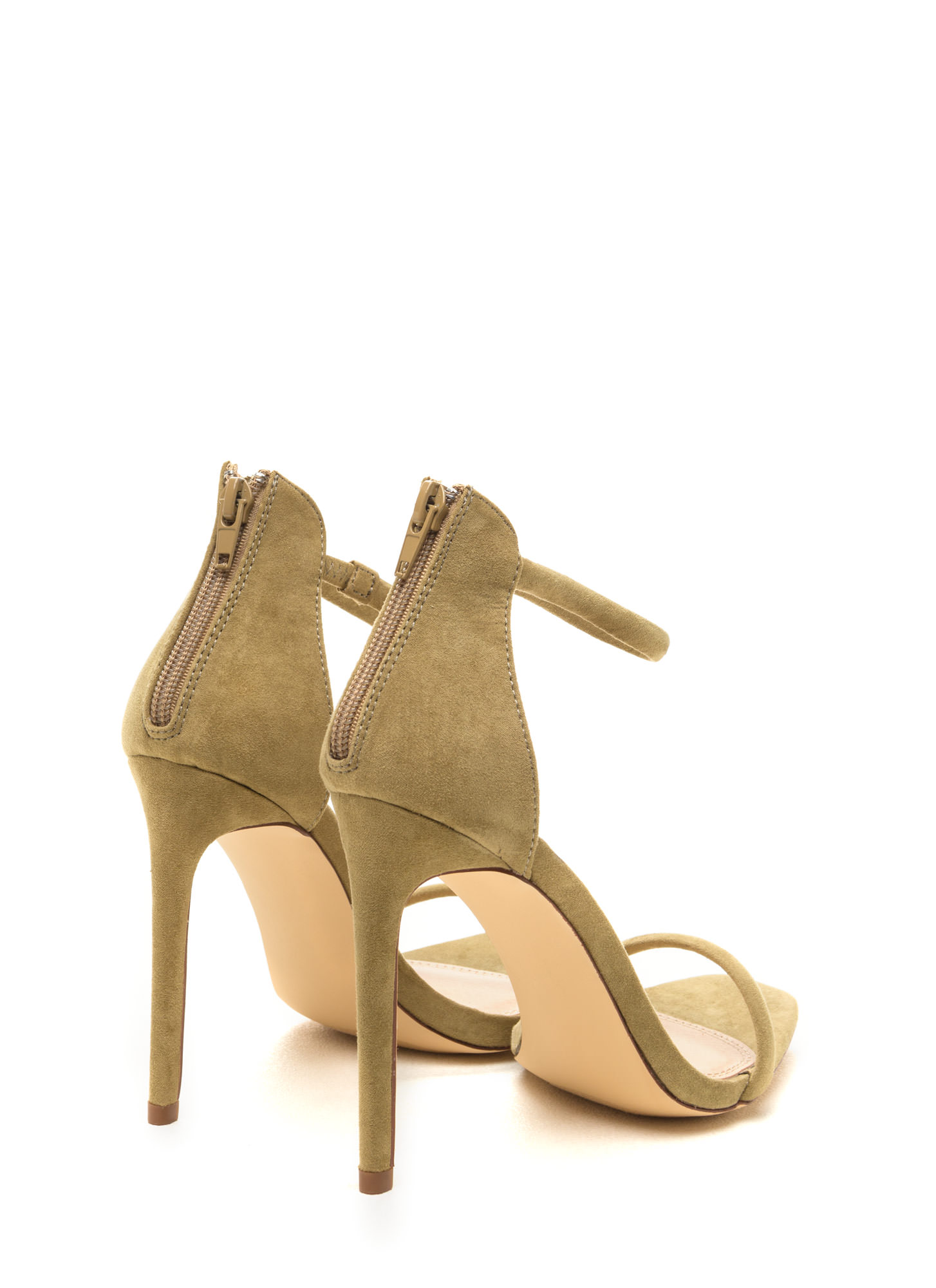 Just One Faux Suede Ankle Strap Heels OLIVE