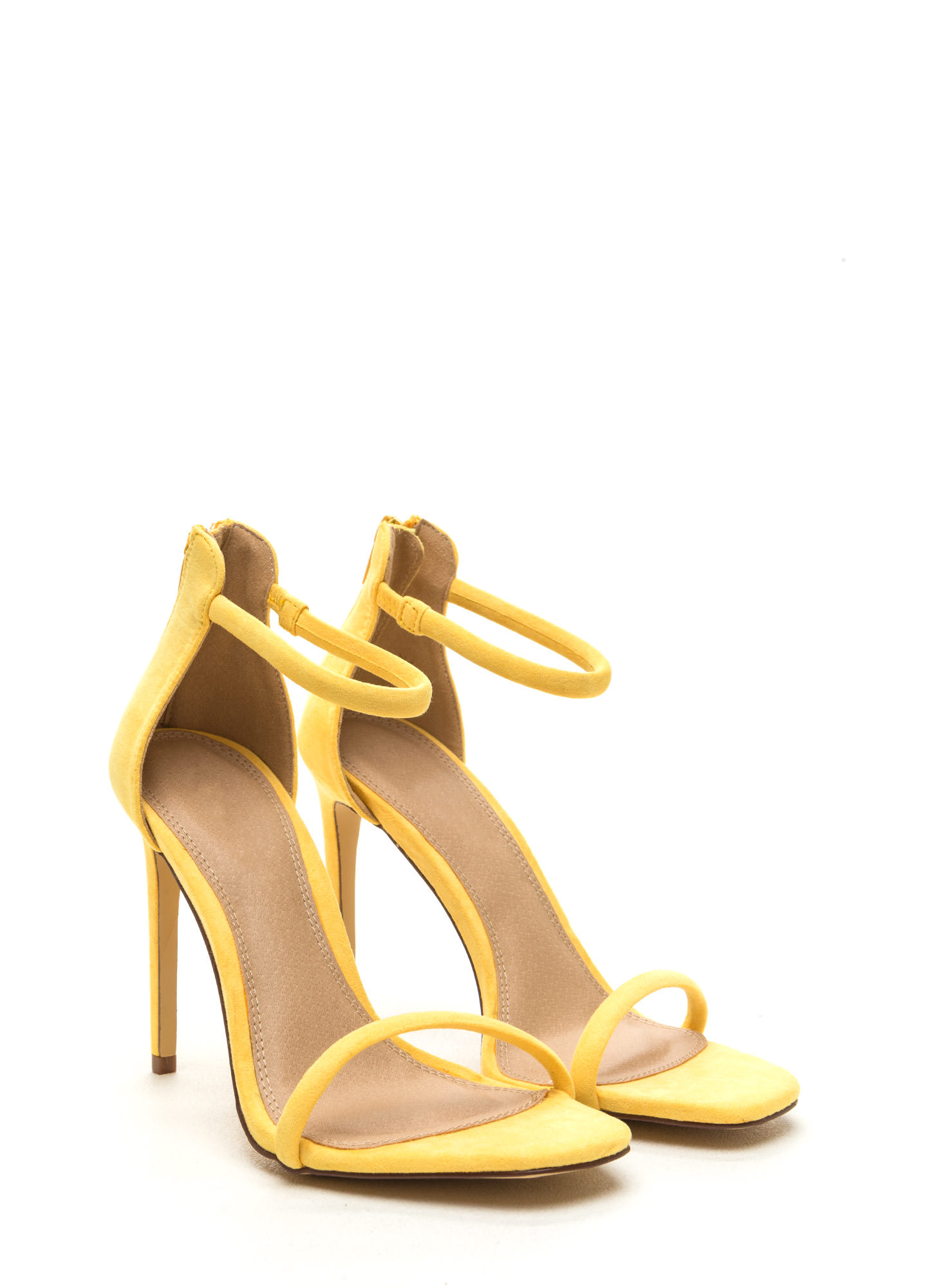 Just One Faux Suede Ankle Strap Heels YELLOW