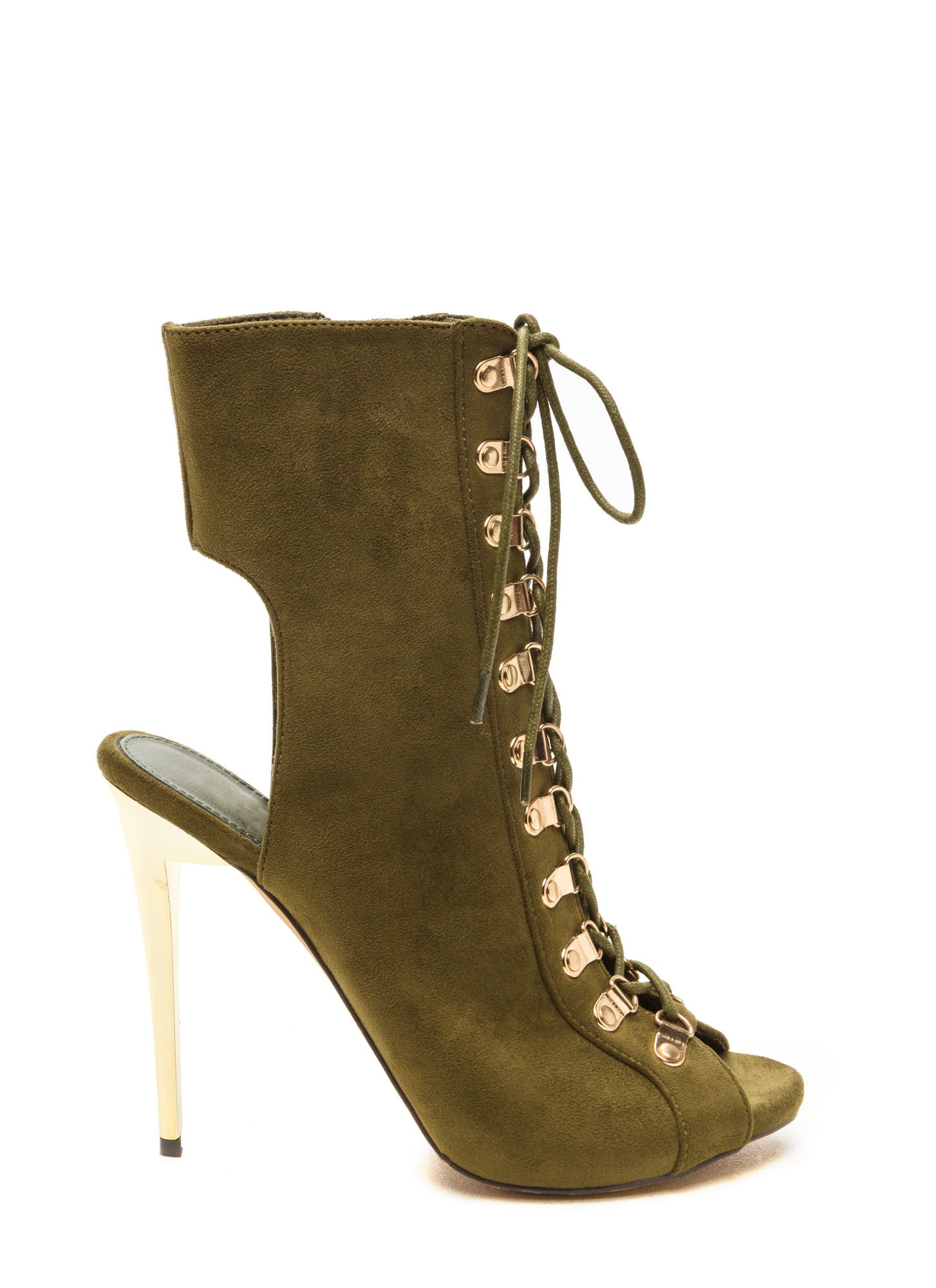 She Wants The D-Rings Peep-Toe Booties OLIVE