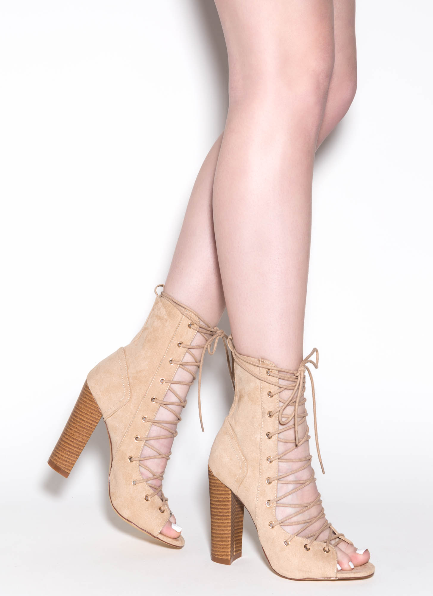 Front Lace Up Heels