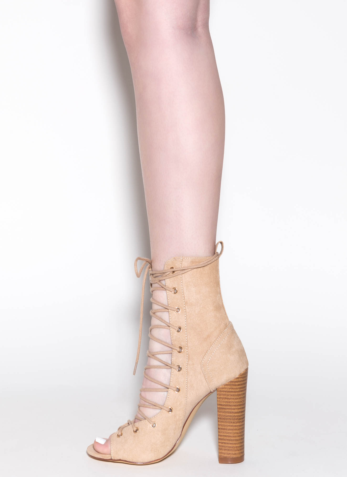 Bootie-ful Chunky Lace-Up Heels BEIGE