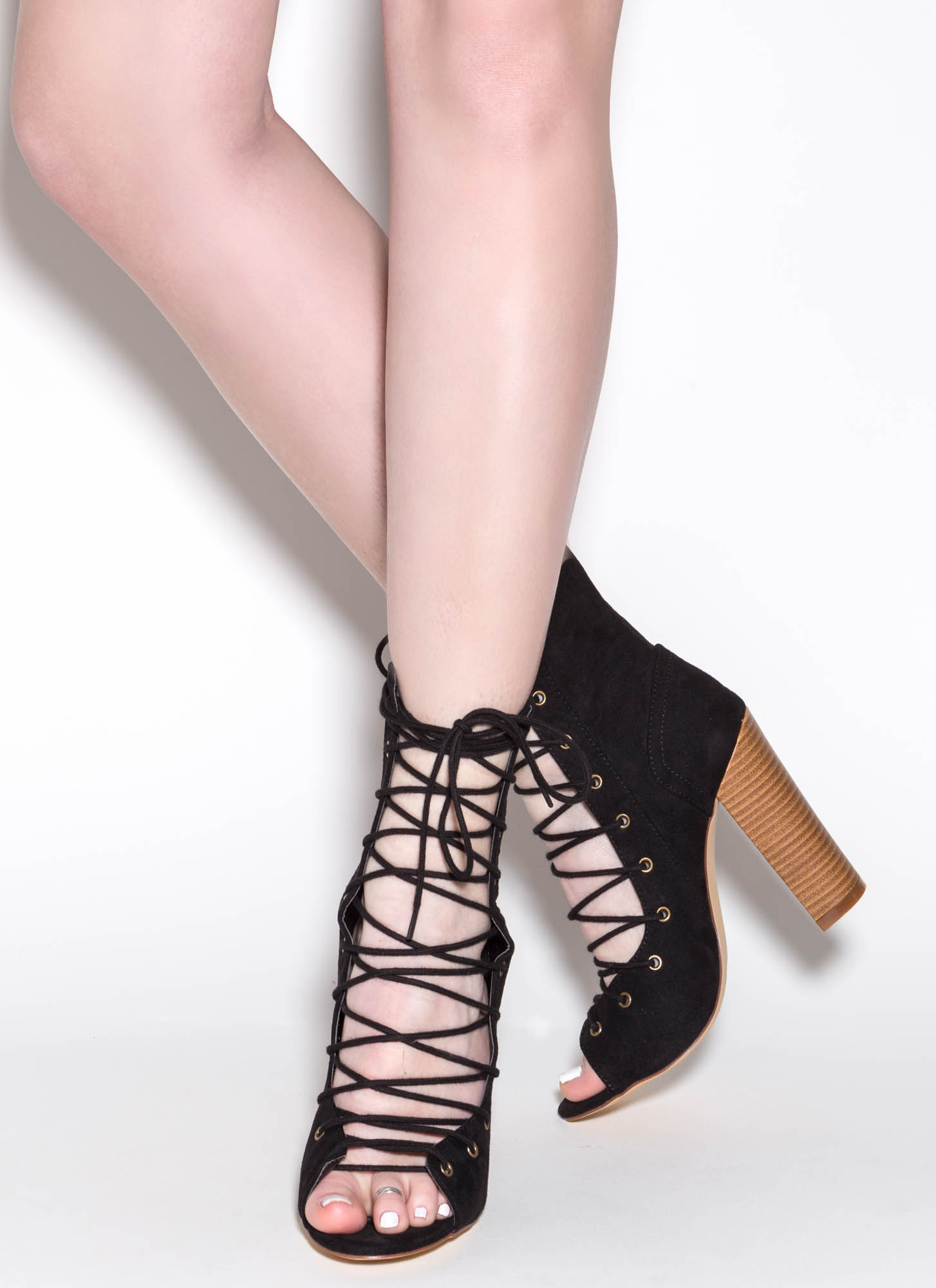 Bootie-ful Chunky Lace-Up Heels BLACK