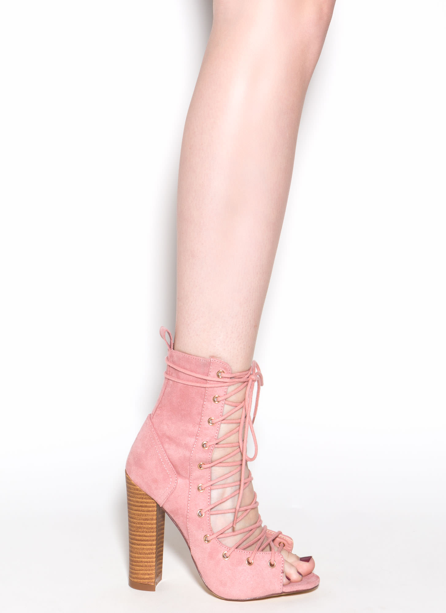 Bootie-ful Chunky Lace-Up Heels DUSTYPINK