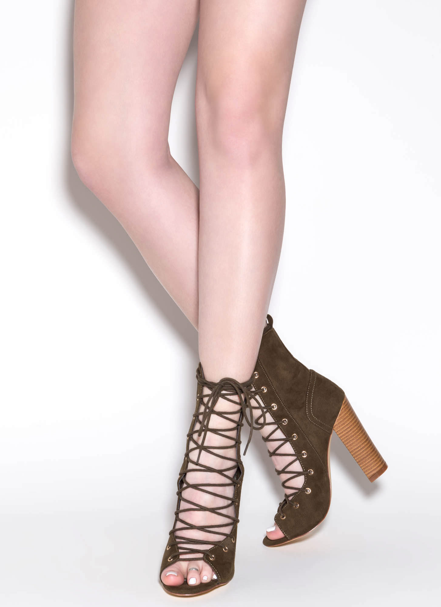 Bootie-ful Chunky Lace-Up Heels OLIVE