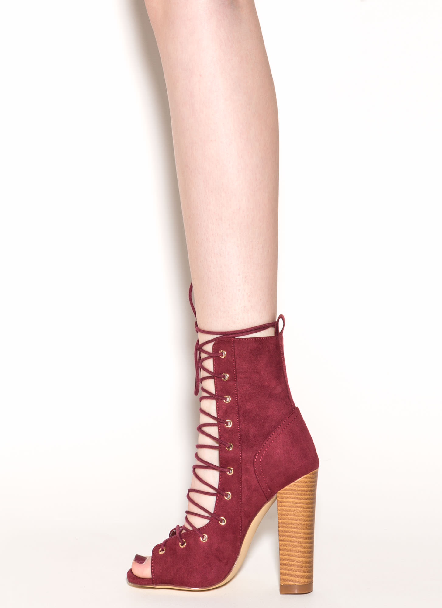 Bootie-ful Chunky Lace-Up Heels WINE