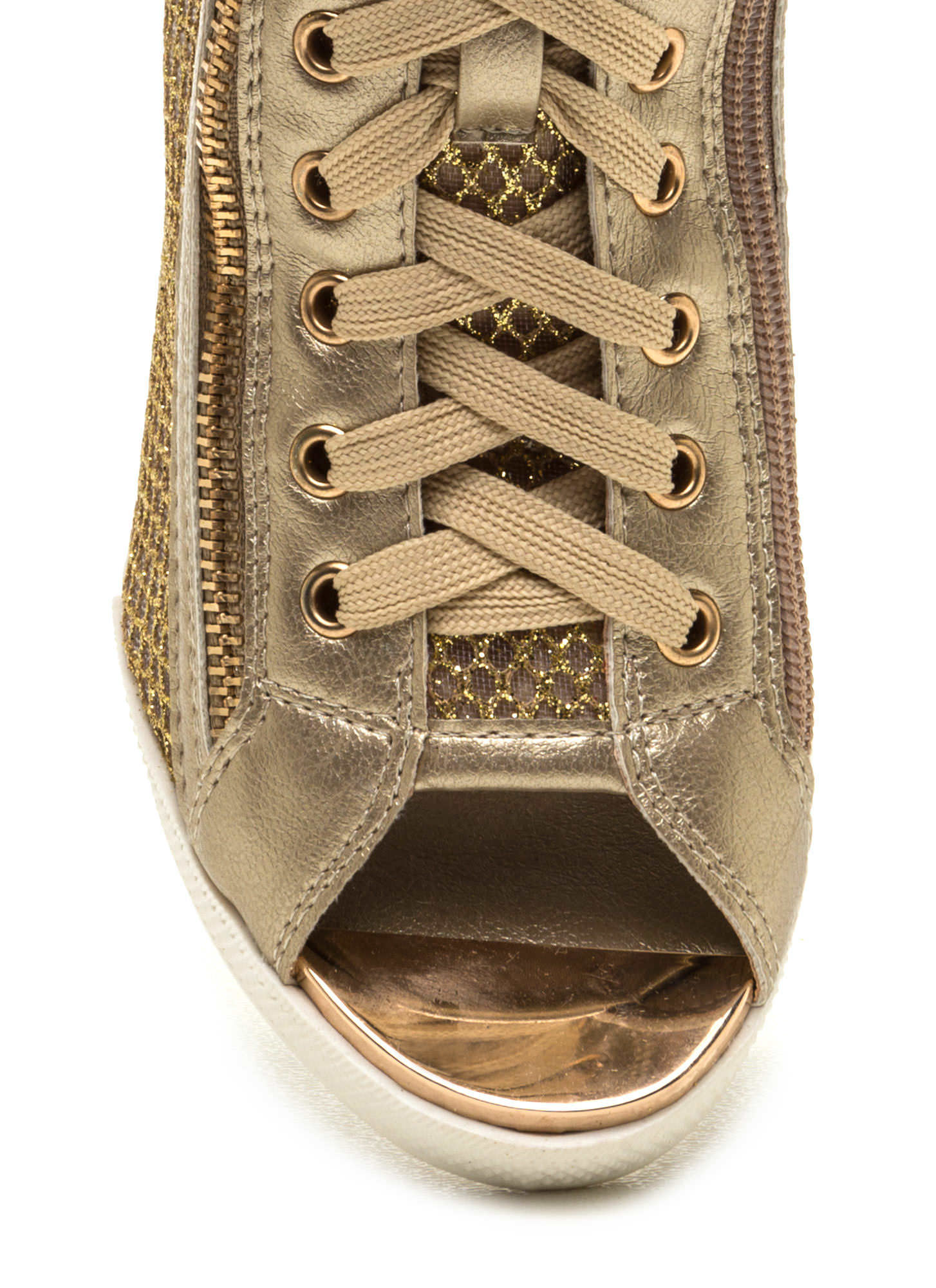 Real MVP Metallic Wedge Sneakers GOLD