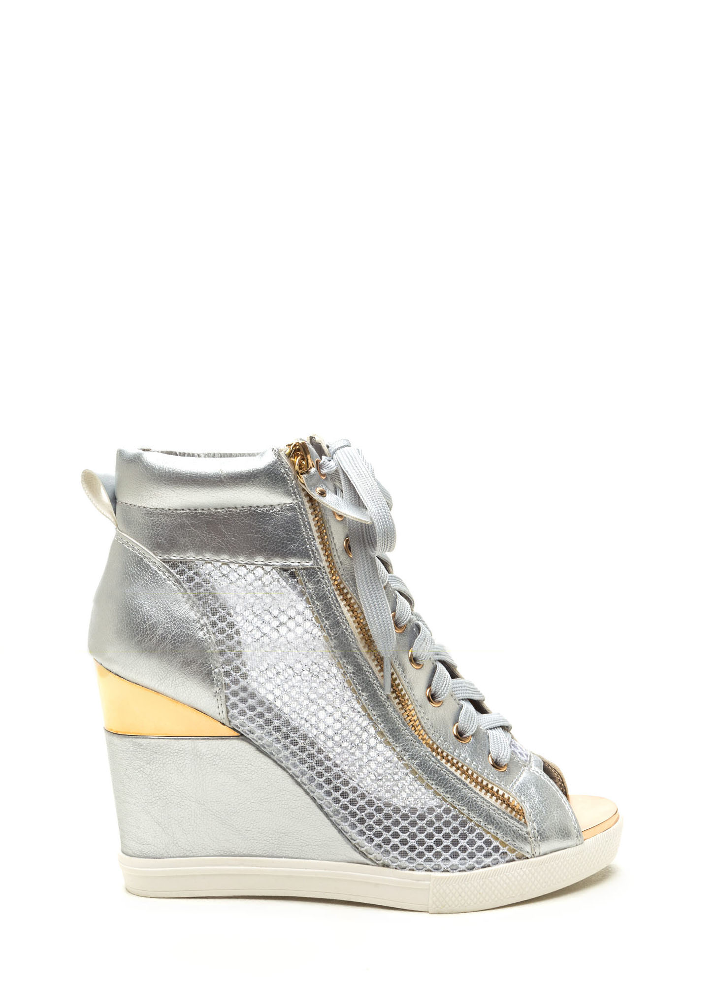 Real MVP Metallic Wedge Sneakers SILVER