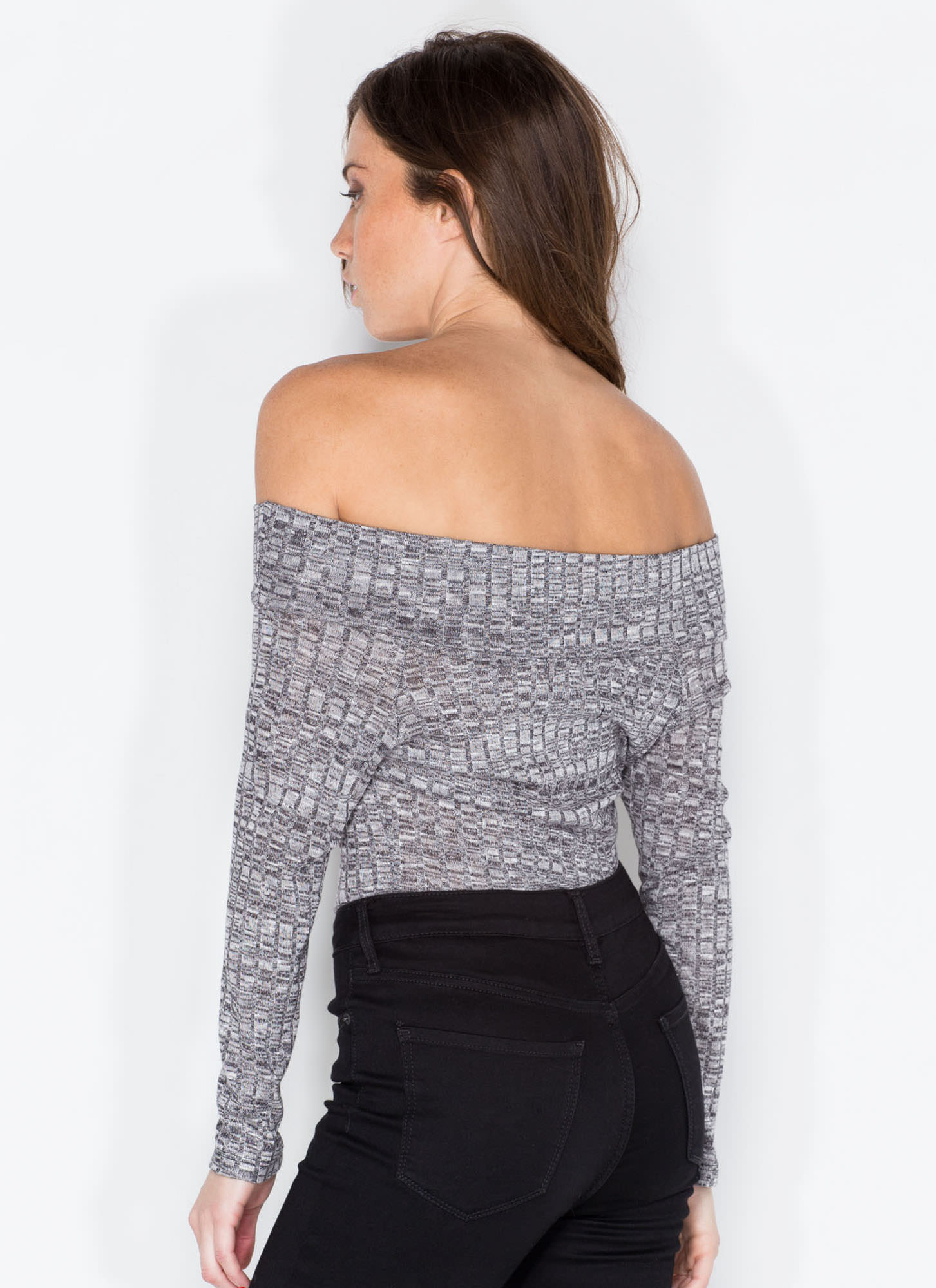 Retro Babe Ribbed Off-Shoulder Top CHARCOAL