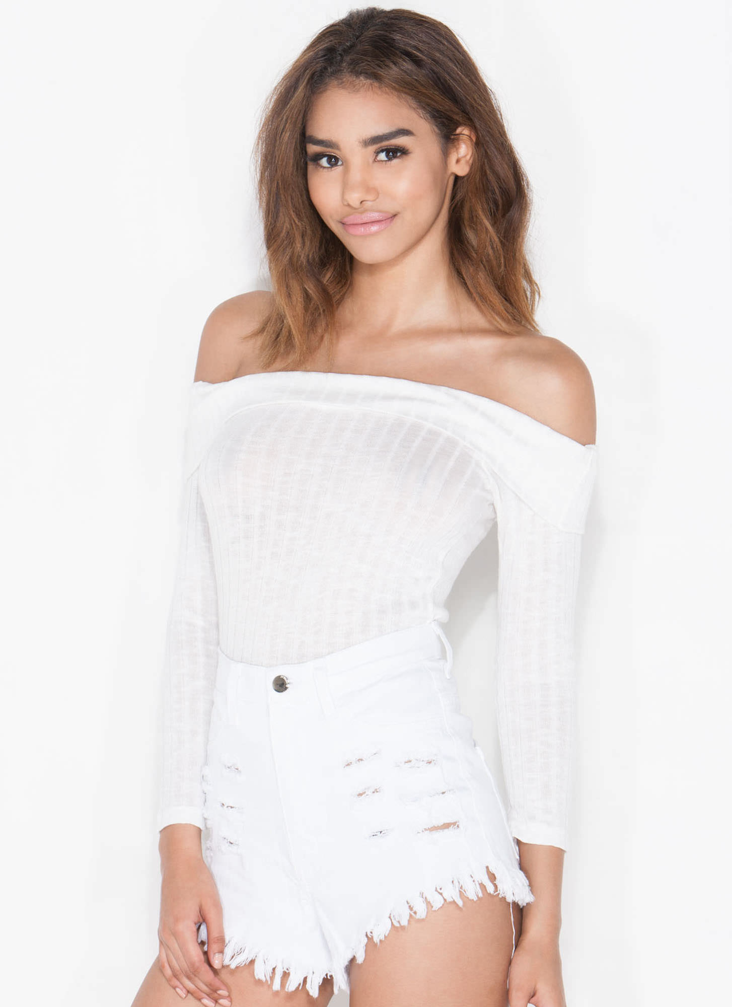 Retro Babe Ribbed Off-Shoulder Top WHITE