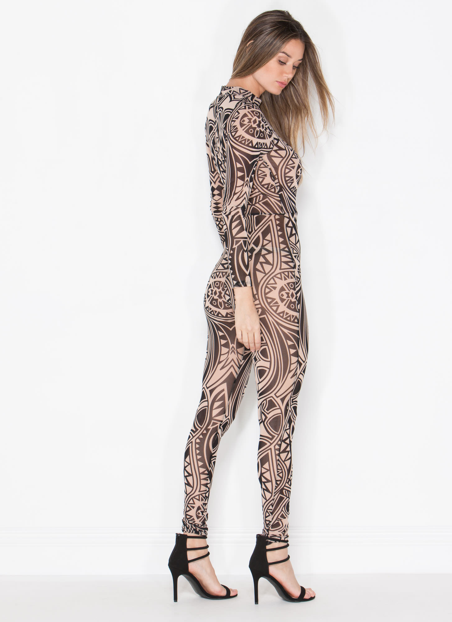 Body Image Mesh Jumpsuit TAUPE