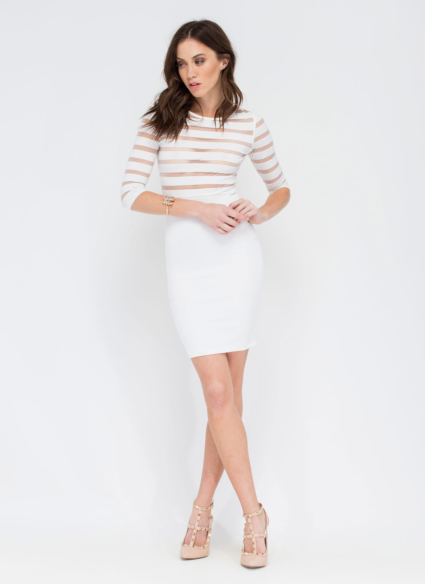 Shadow Me Striped Sheer Mesh Dress WHITE