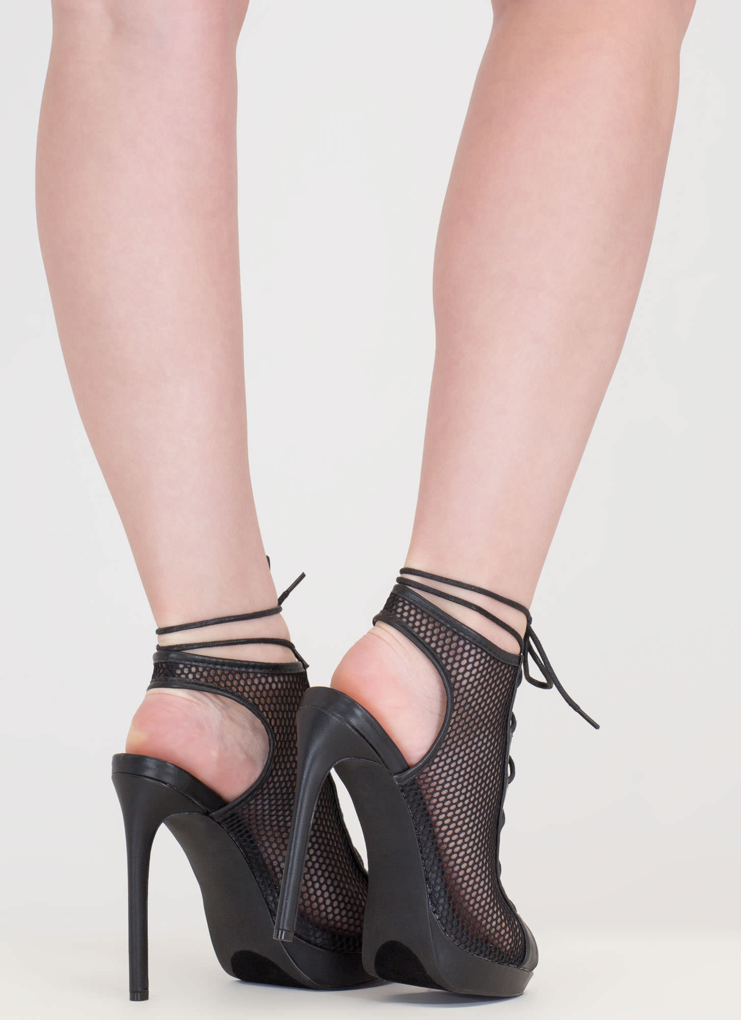 Mesh In Love Lace-Up Booties BLACK