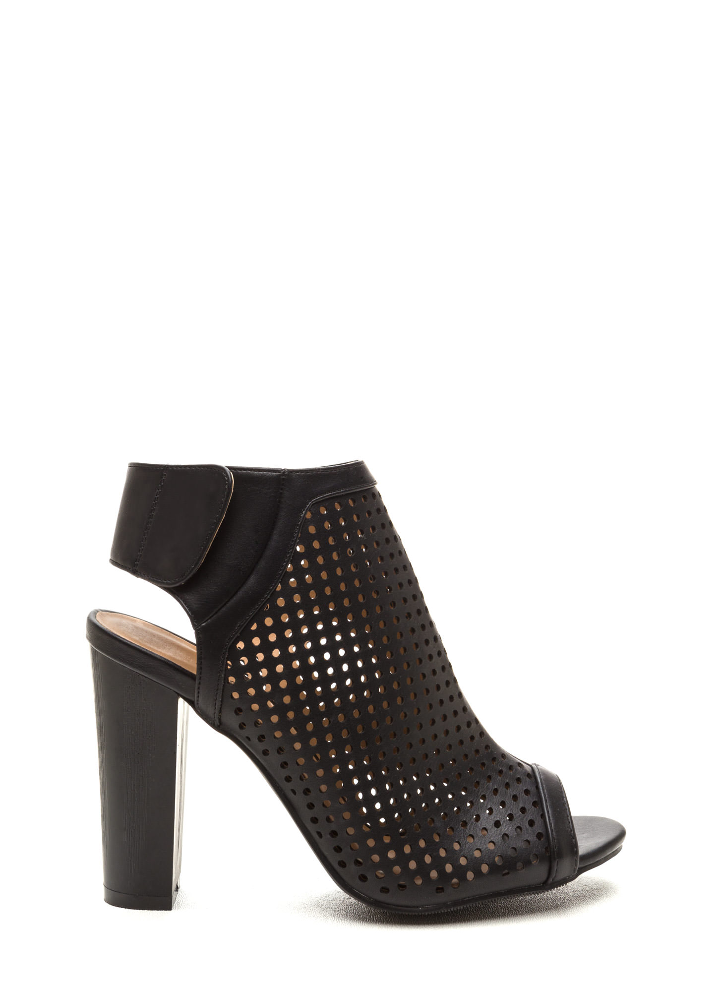 Pleased As Punch Perforated Booties BLACK
