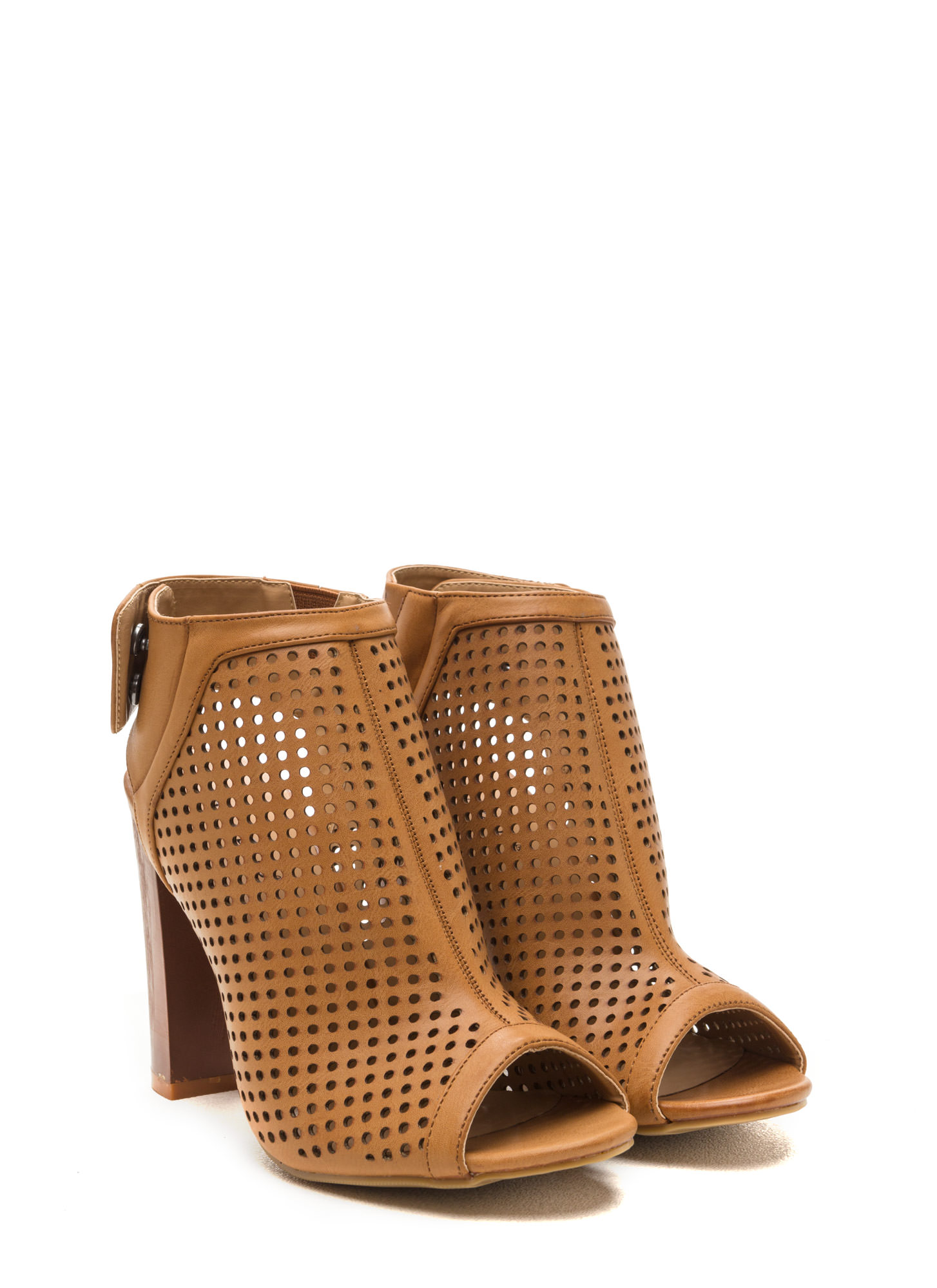 Pleased As Punch Perforated Booties TAN